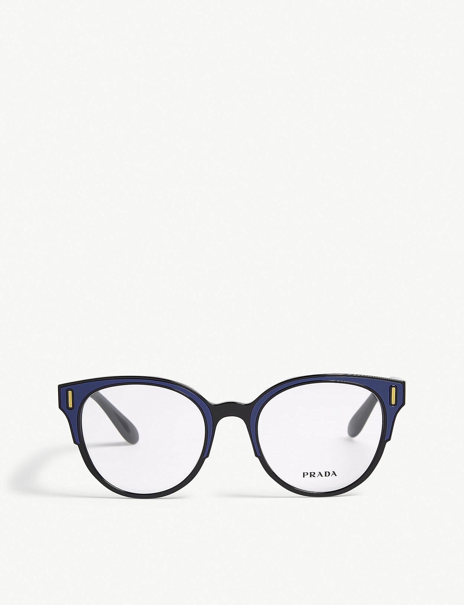 980f520c82e Prada - Womens Blue Pr08uv Round-frame Glasses - Lyst. View fullscreen