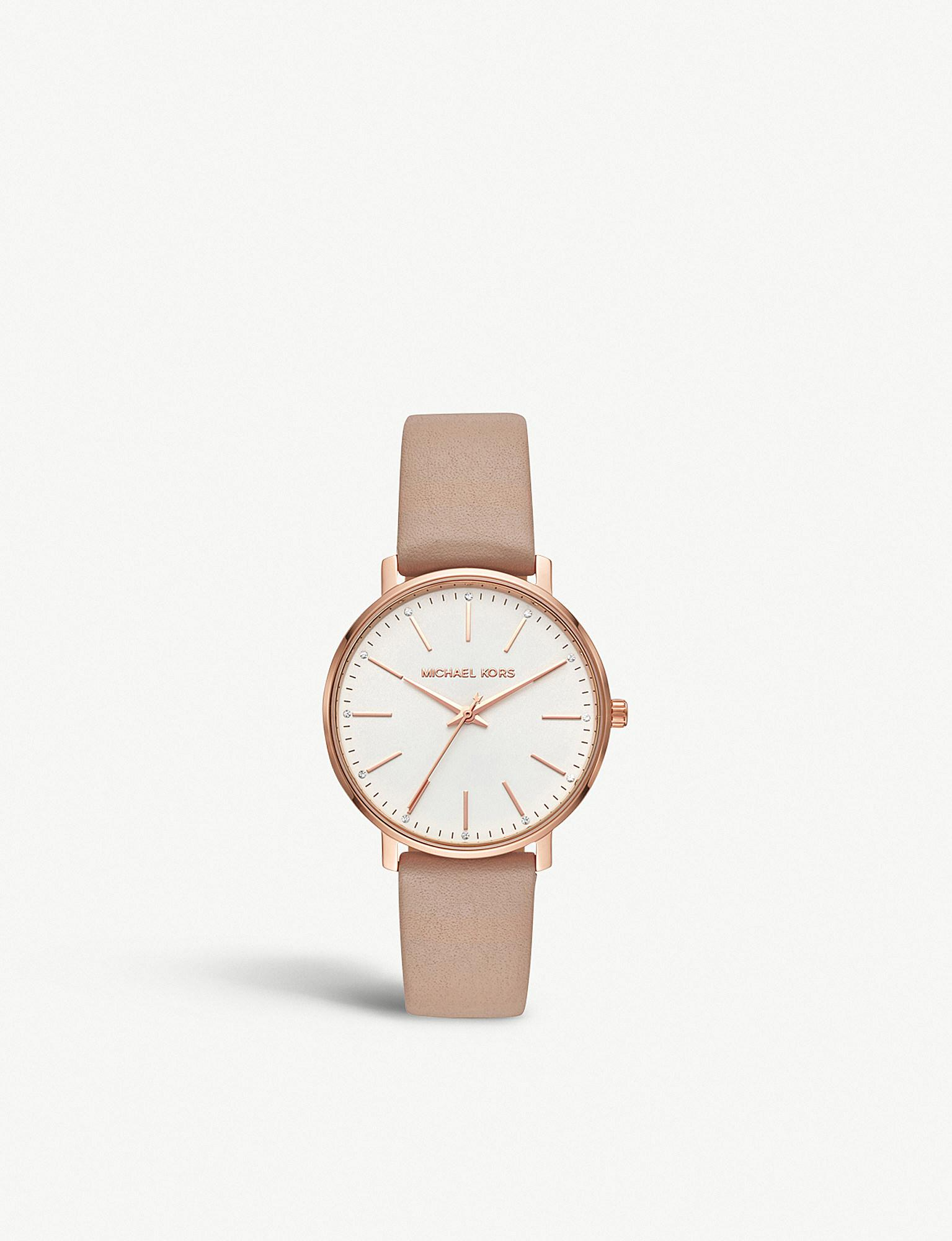 Michael Kors - Metallic Mk2748 Pyper Rose-gold Stainless Steel And Leather  Watch - Lyst. View fullscreen 6662e0c6781