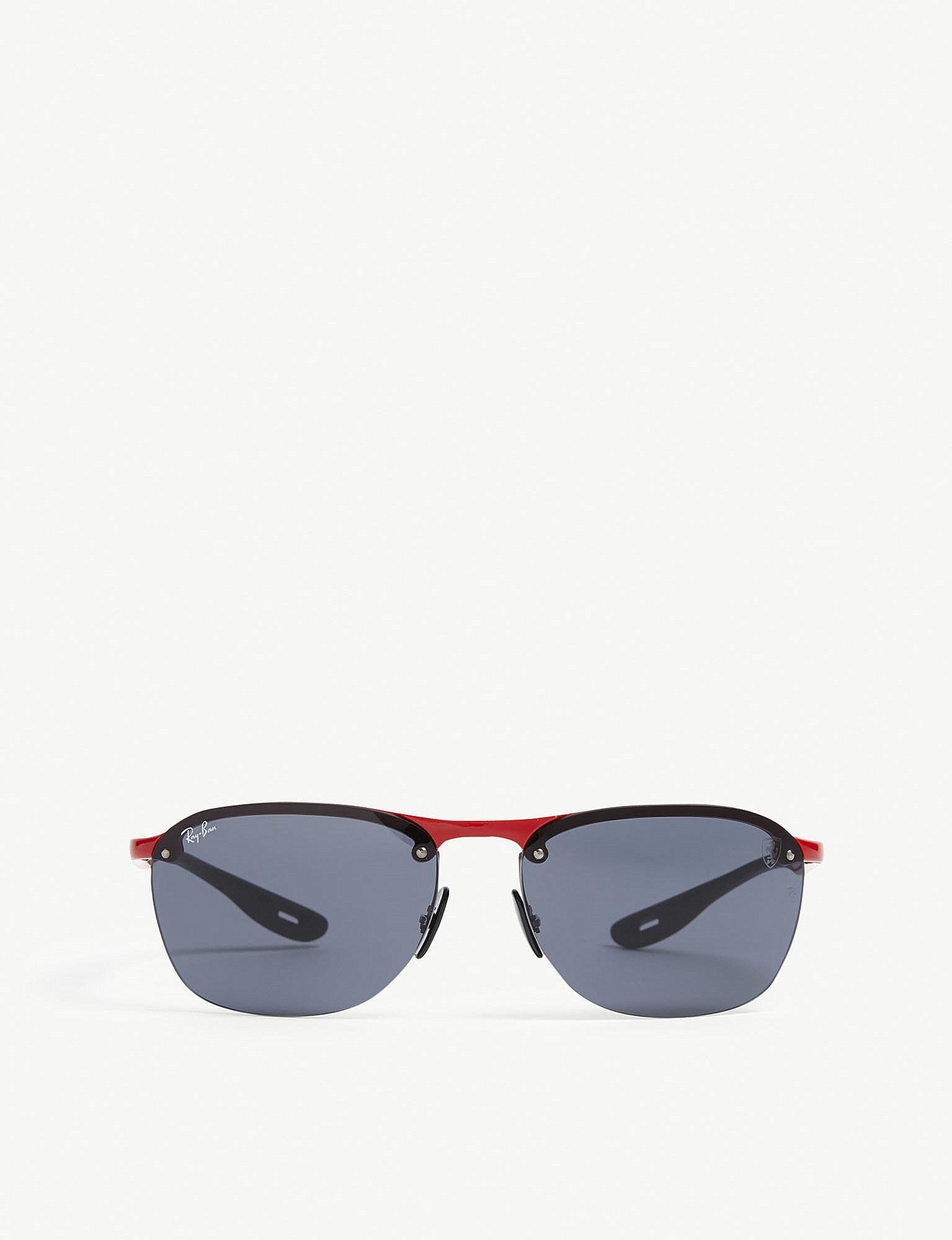 0a97451e191cfc Lyst - Ray-Ban Rb4302 Scuderia Ferrari Rectangle-frame Sunglasses in Red