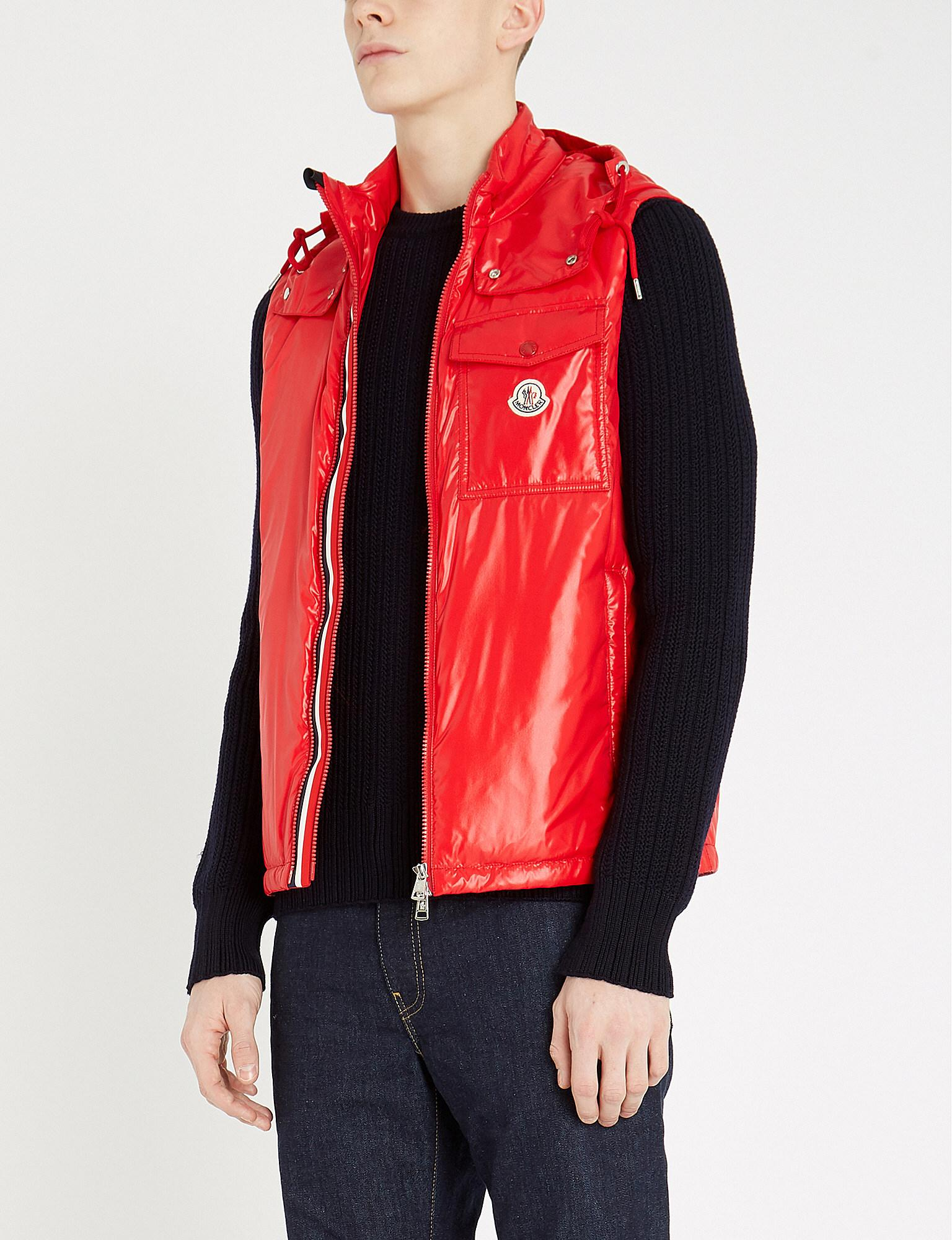 d1b55a2af39d Moncler High-shine Laqué-down Hooded Gilet in Red for Men - Lyst