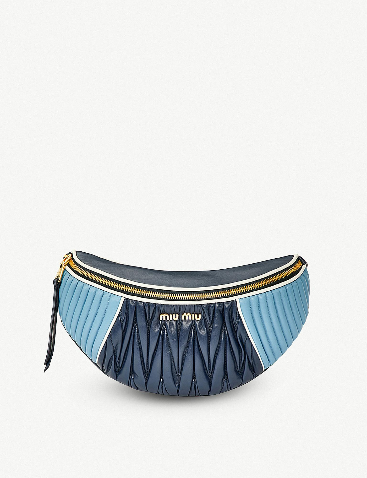 ba4072f4ba54 Lyst - Miu Miu Two-tone Quilted Nappa-leather Belt Bag in Blue