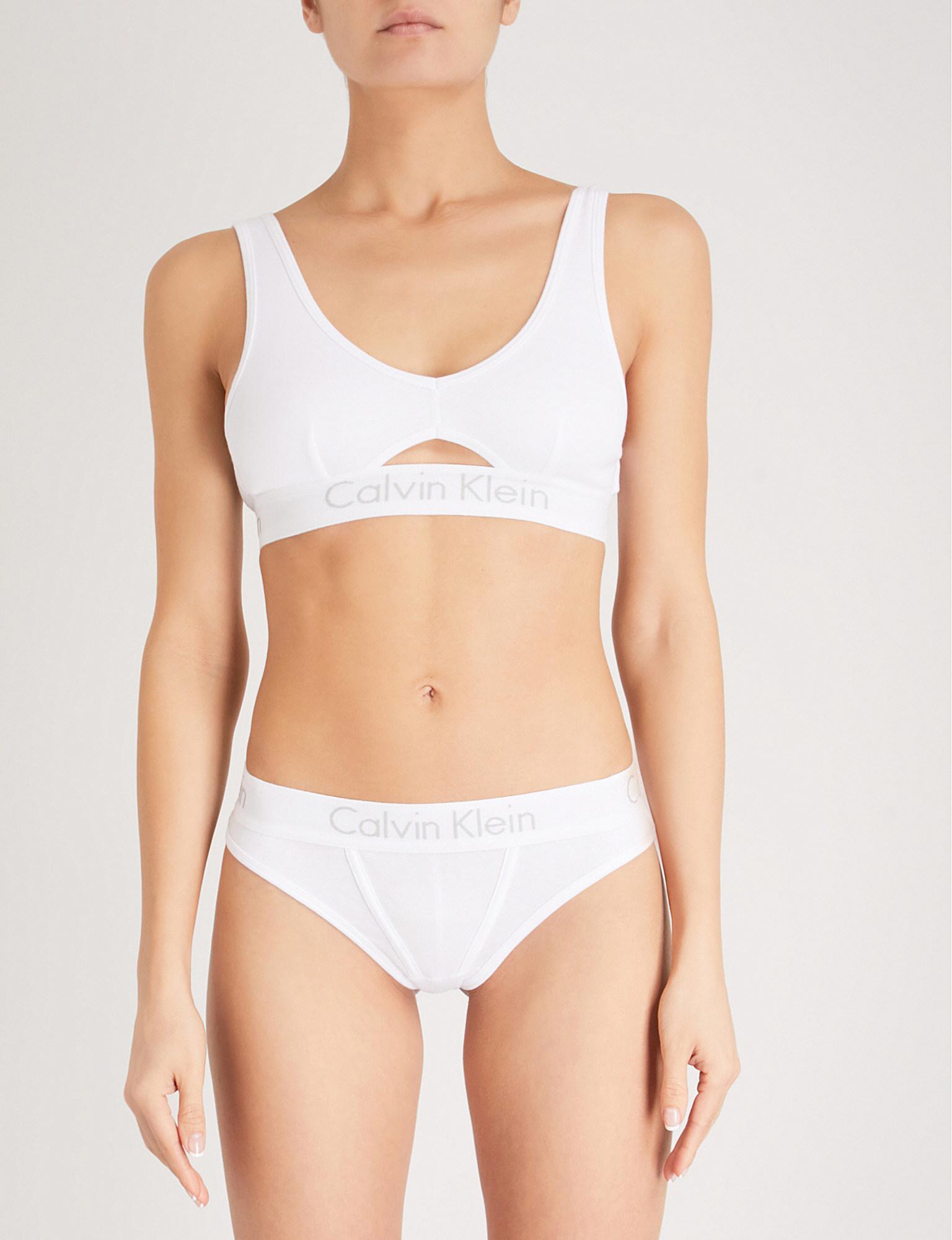 f1287d20e8 Lyst - Calvin Klein Body Cotton-jersey Bralette in White - Save 78%