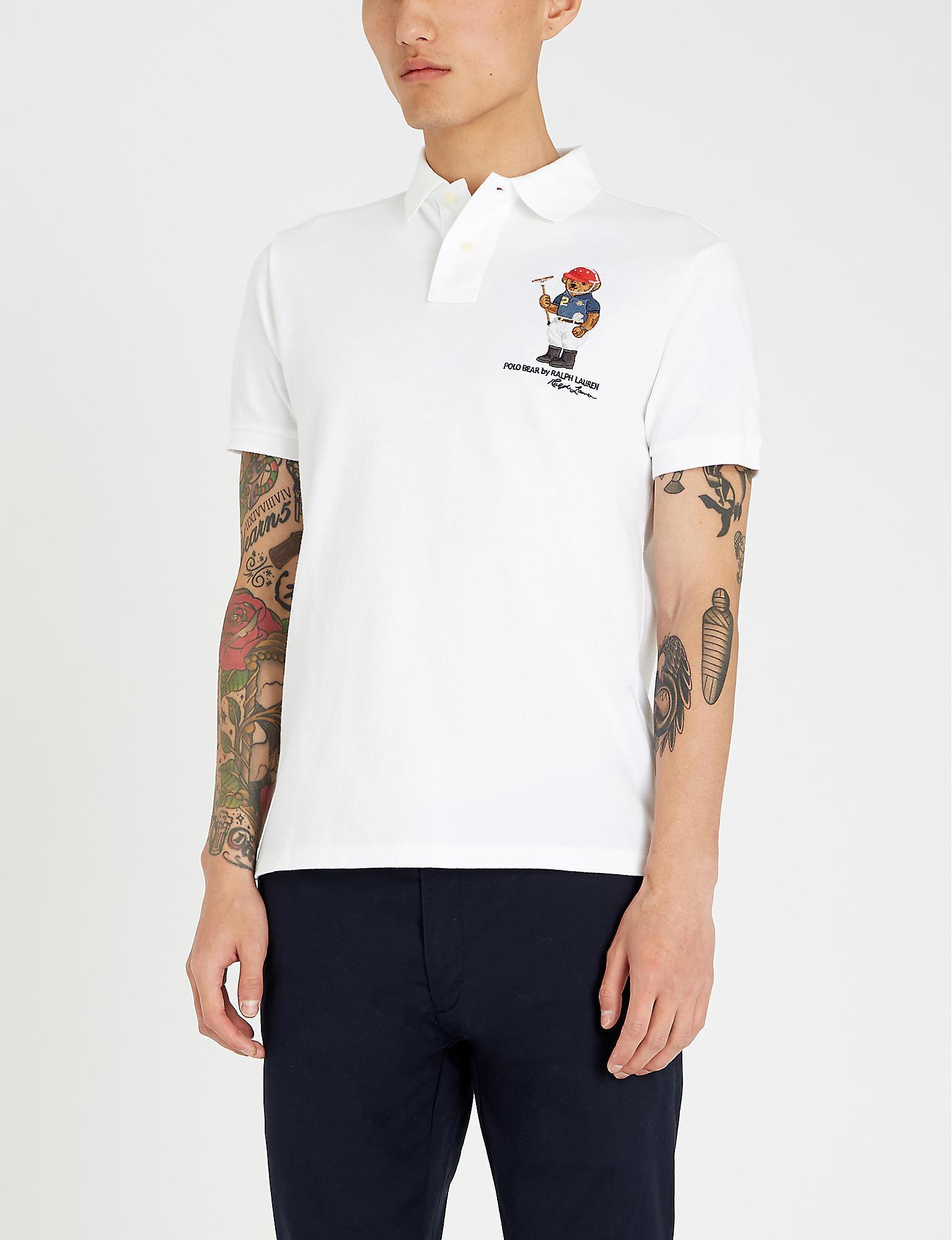 e1c16266 Polo Ralph Lauren. Men's White Bear-embroidered Cotton-piqué Polo Shirt