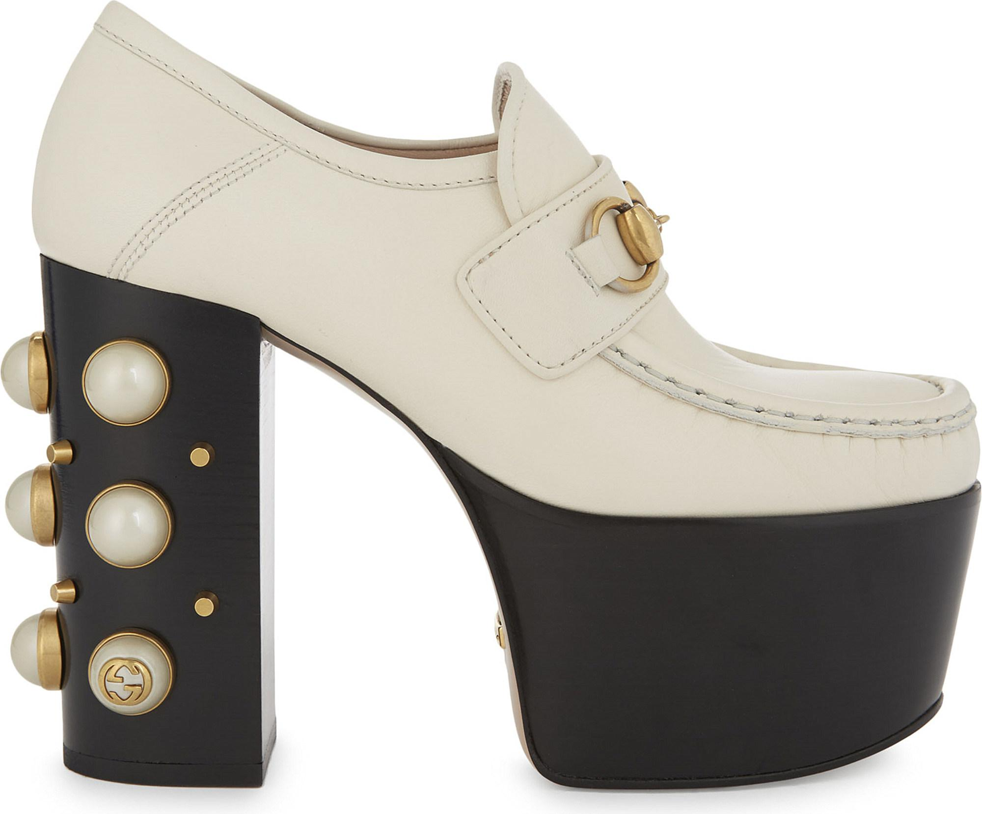 748e0e5ad37 Lyst - Gucci Vegas 125 Pearl Leather High Heeled Loafers in White
