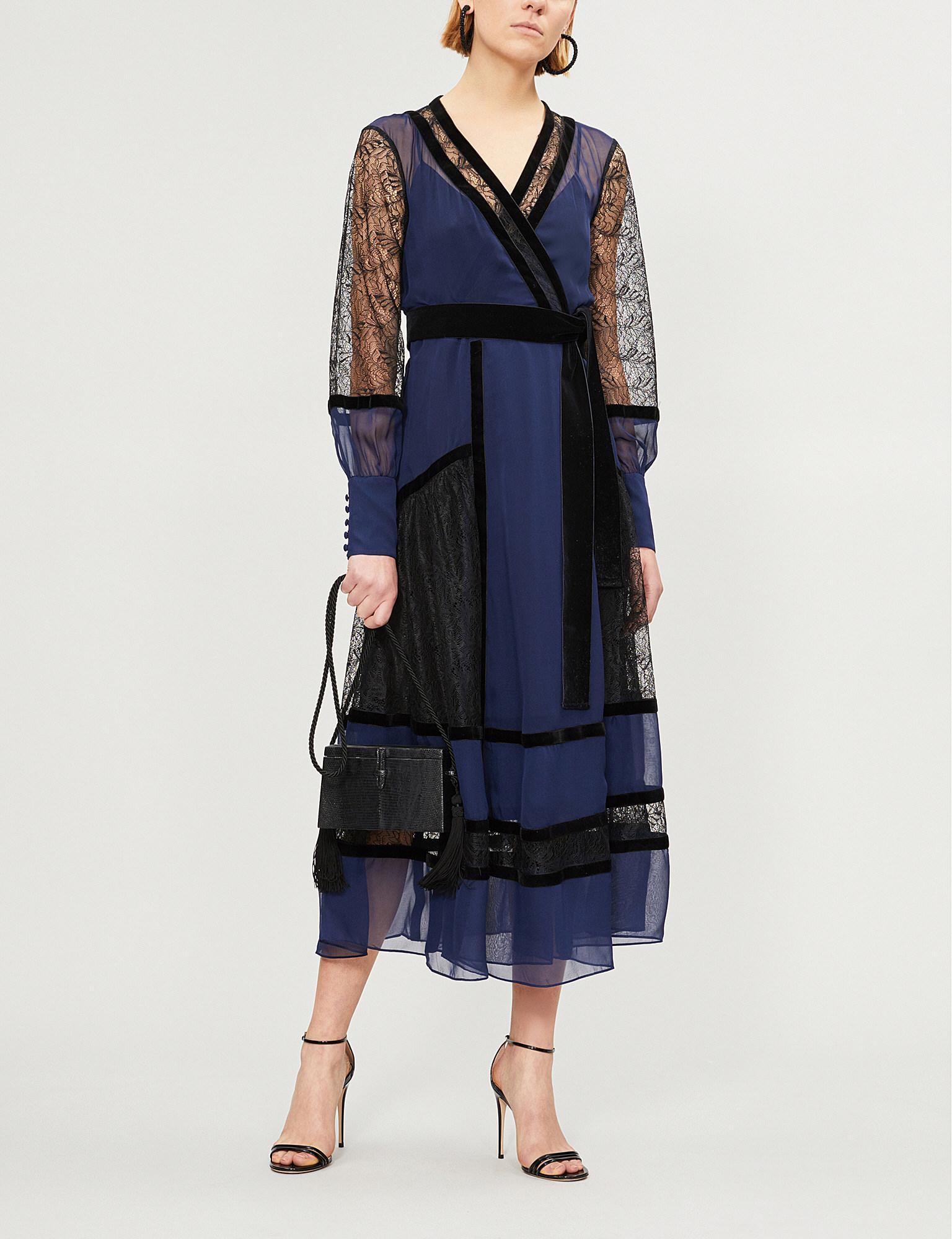 cd2384c281d96 Lyst - Diane von Furstenberg Forrest Silk And Velvet Wrap Dress in Blue