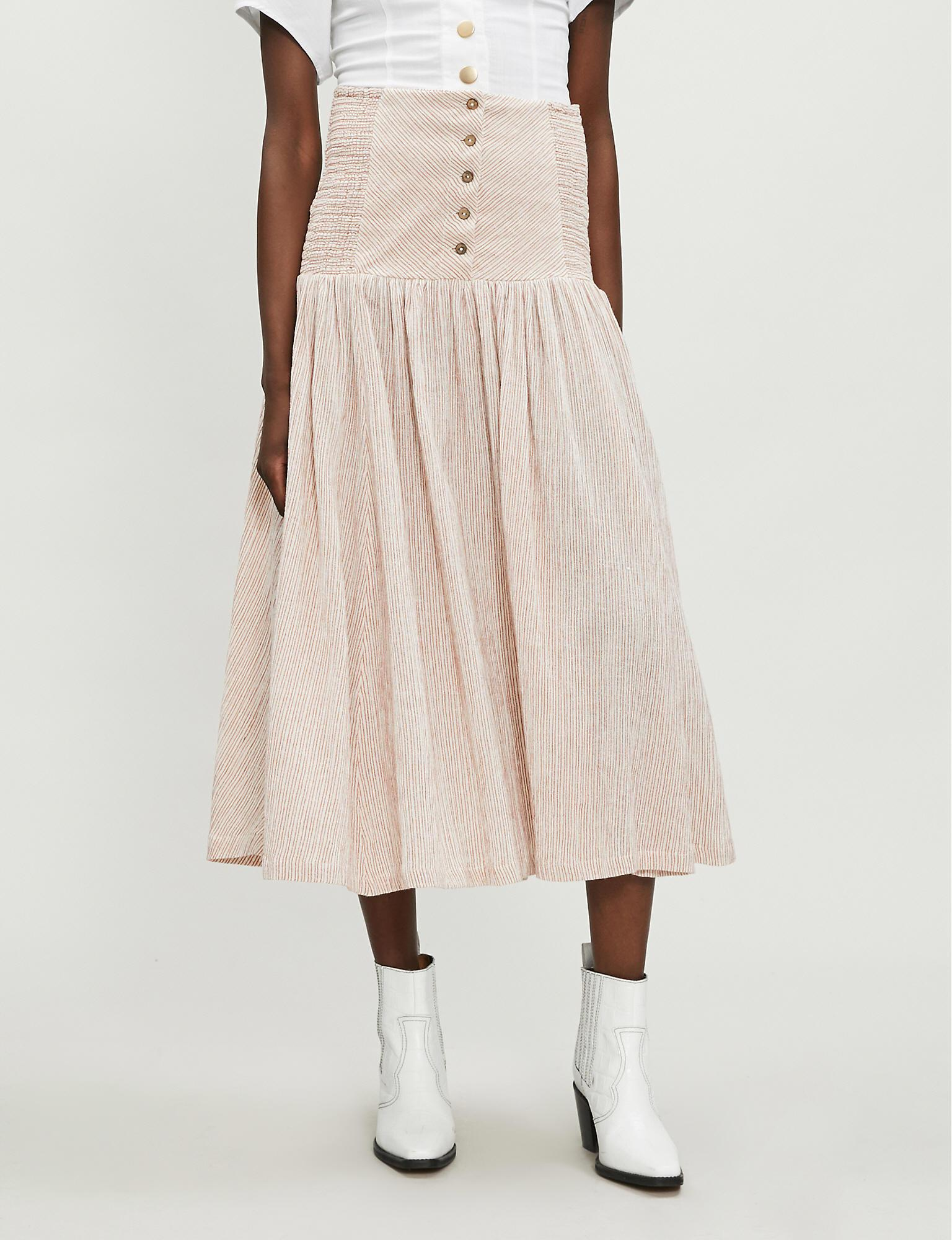 bfa699c4a2 Free People Ocean Eyes Cheesecloth Maxi Skirt in Natural - Lyst