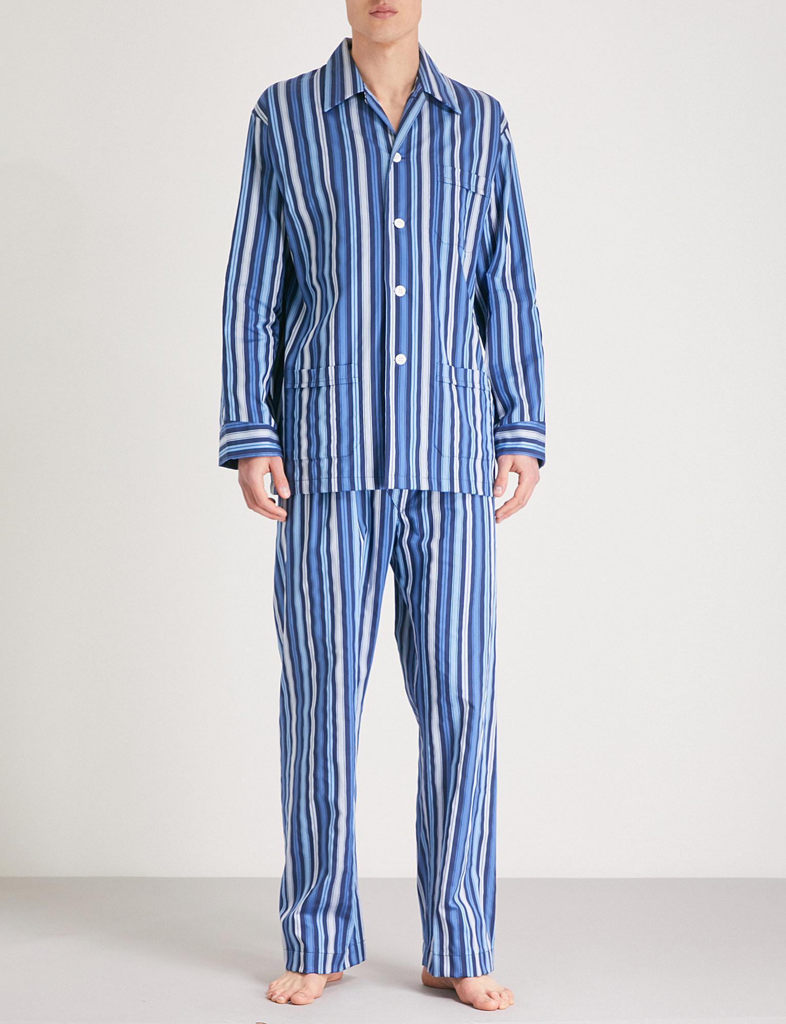 aa16c95494 Lyst - Derek Rose Striped Cotton Pyjama Set in Blue for Men