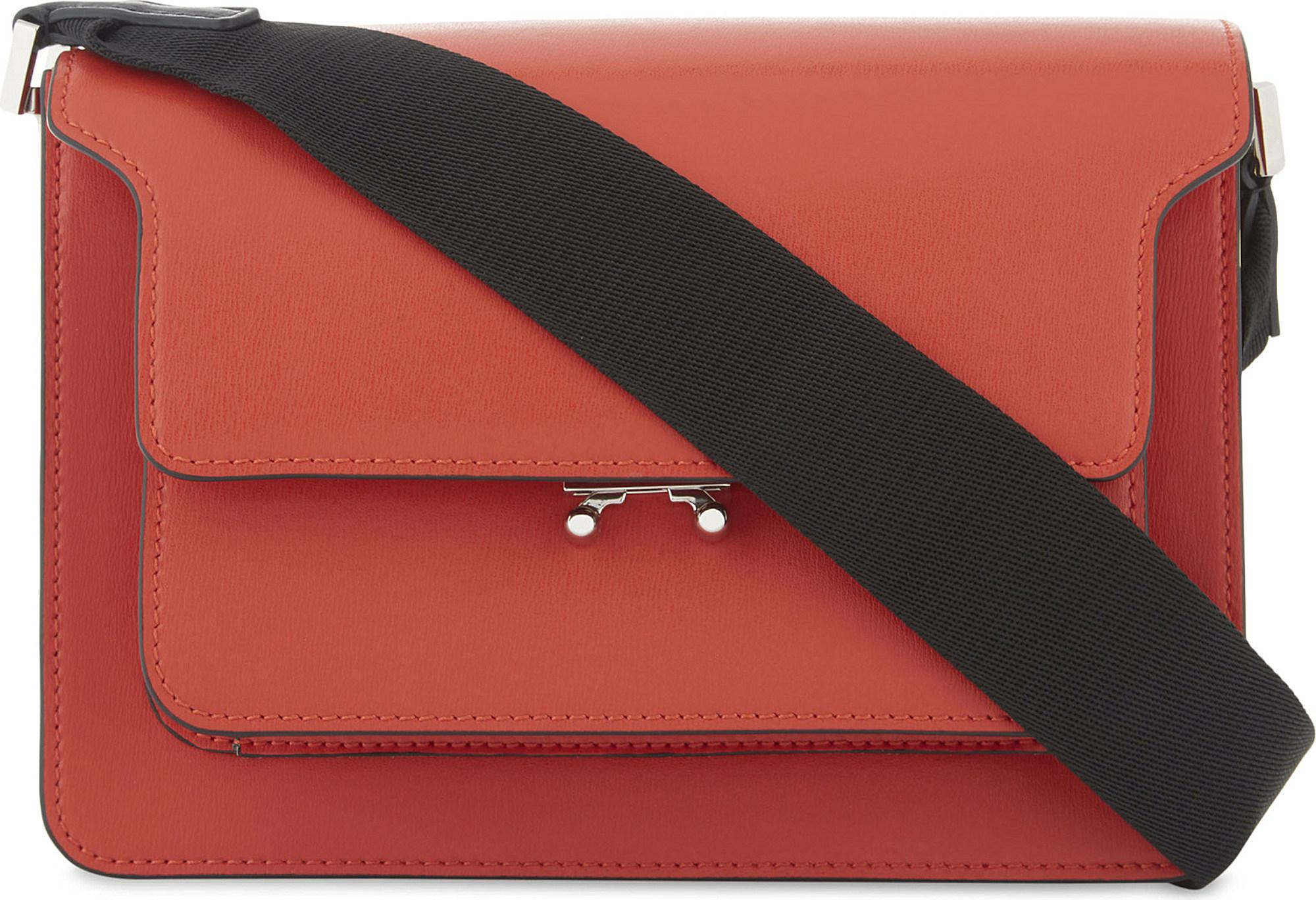 b3f04351c9 Marni Leather Trunk Shoulder Bag in Red - Lyst
