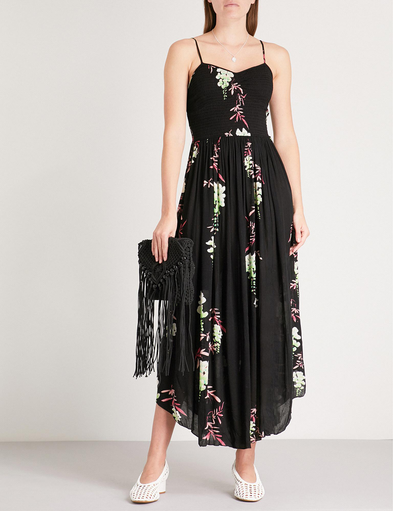 a445b0e327b3c Free People Beau Floral-print Woven Midi Dress in Black - Lyst