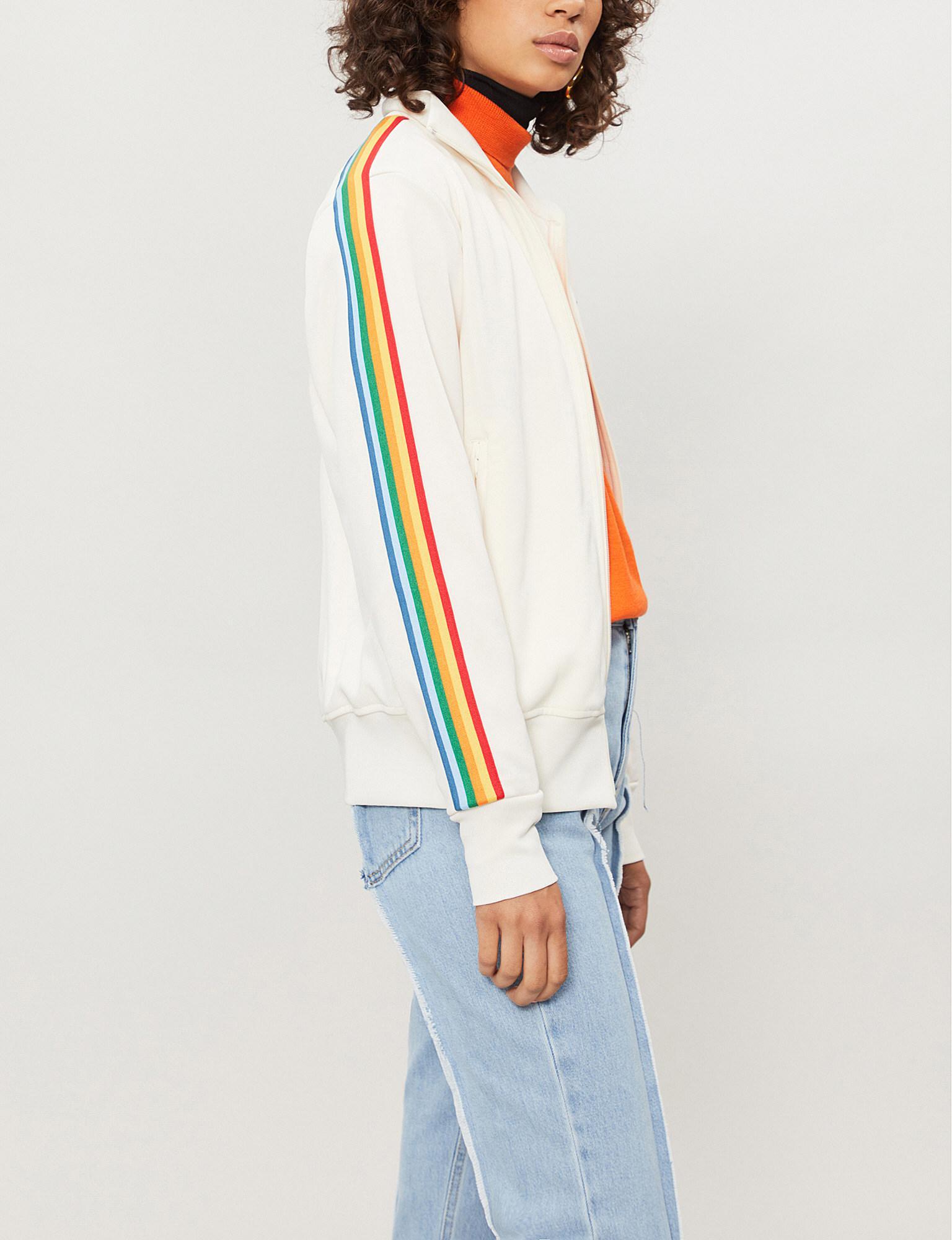 04a4727135626 Palm Angels Rainbow Side-stripe Jersey Jacket in White - Lyst
