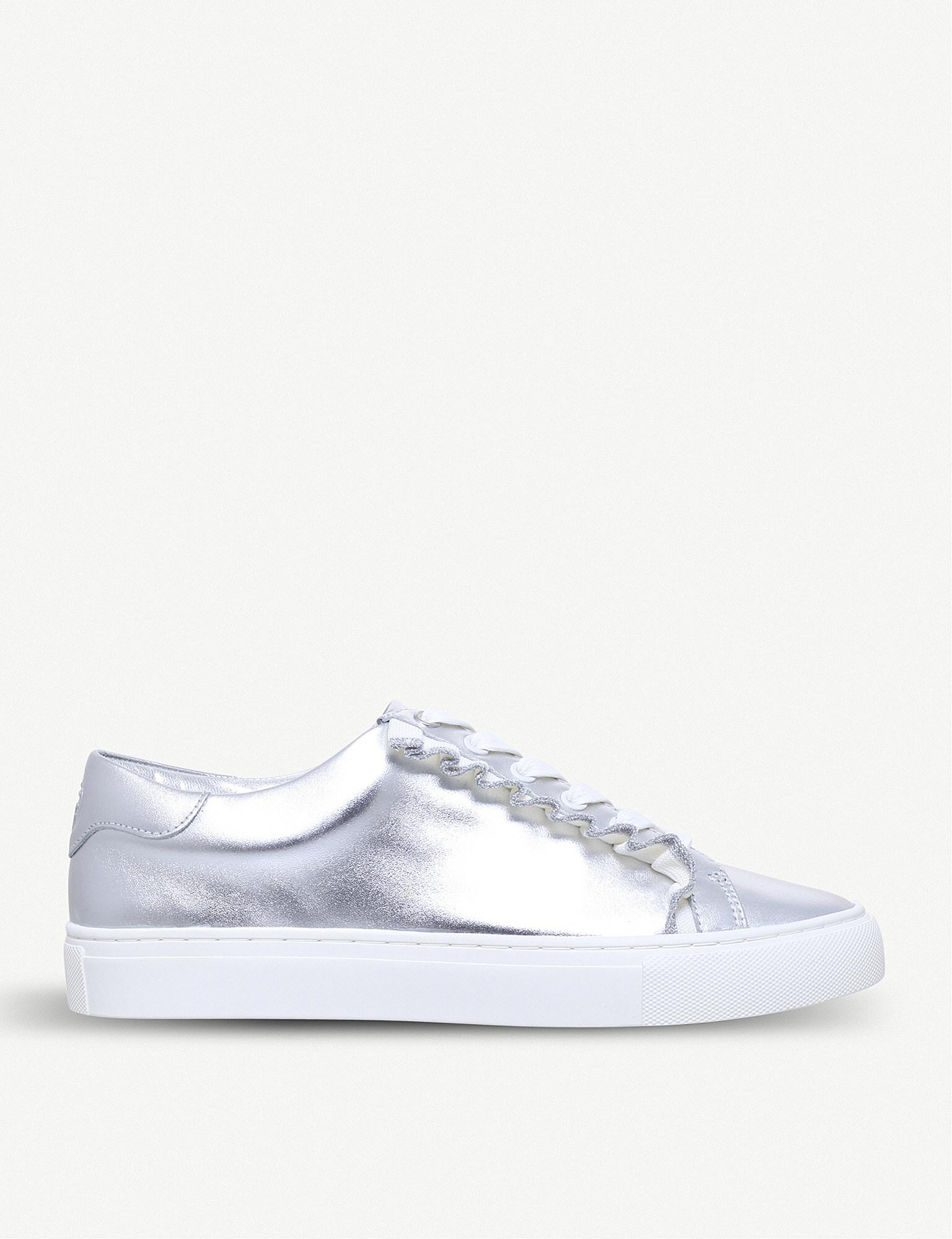 Ruffled Metallic Leather Sneakers - Silver Tory Burch jMsh988