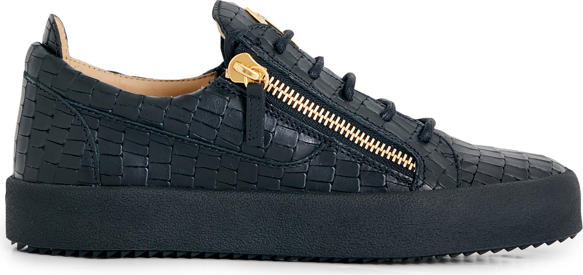 23cc84cd1f Lyst - Giuseppe Zanotti Croc-effect Leather Trainers in Black for Men
