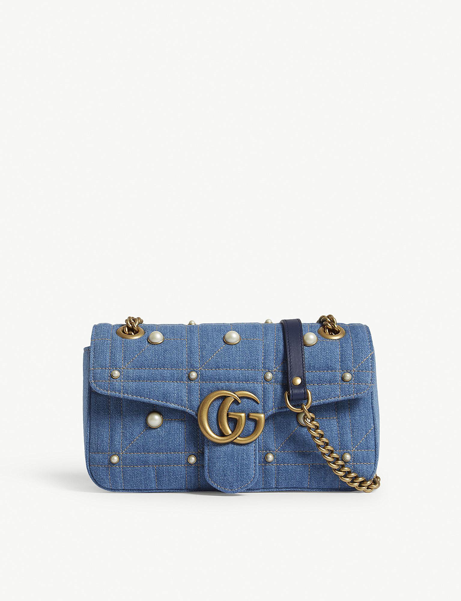 eb490c255c4e Gucci Marmont Matelassé Denim Cross-body Bag in Blue - Lyst