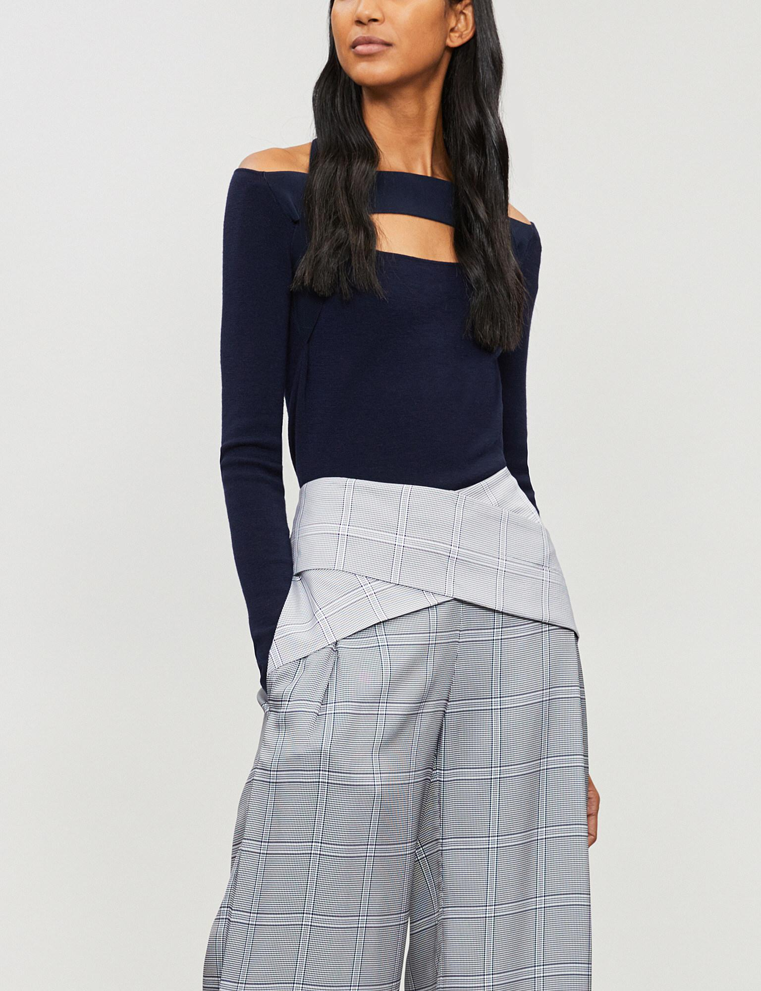 806de14ed05 Dion Lee Off-the-shoulder Cutout Wool Top in Blue - Lyst