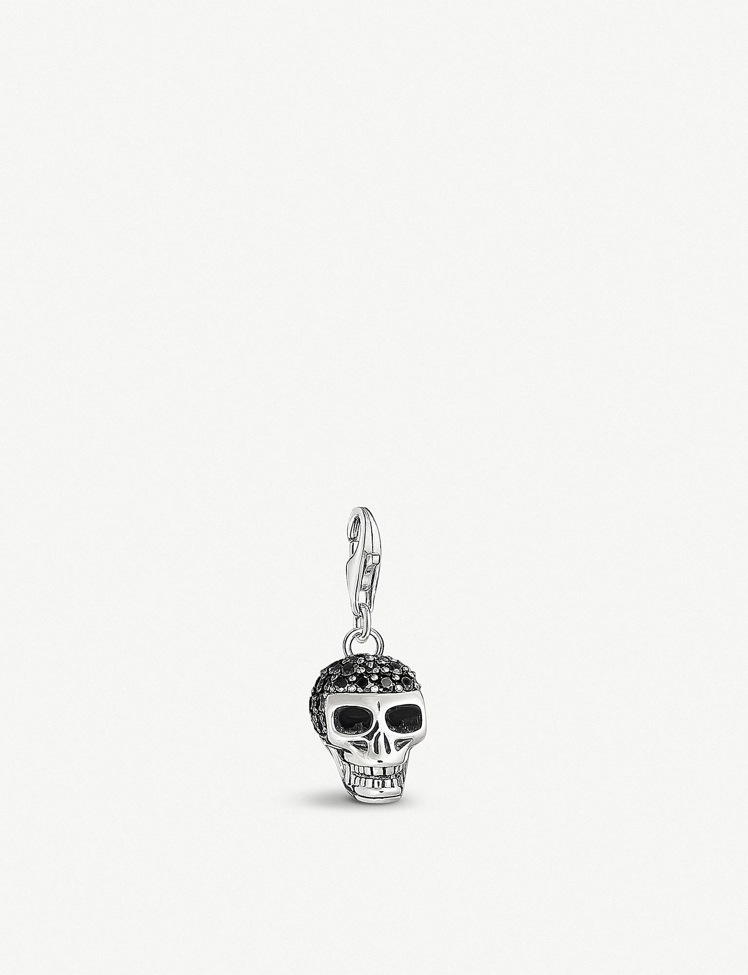 Lyst thomas sabo skull sterling silver and black zirconia charm in thomas sabo mozeypictures Image collections
