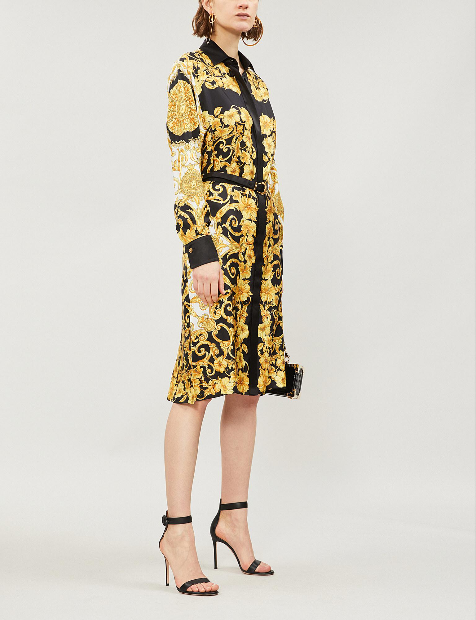 573e2c48080a Lyst - Versace Baroque-print Silk-twill Dress in Yellow