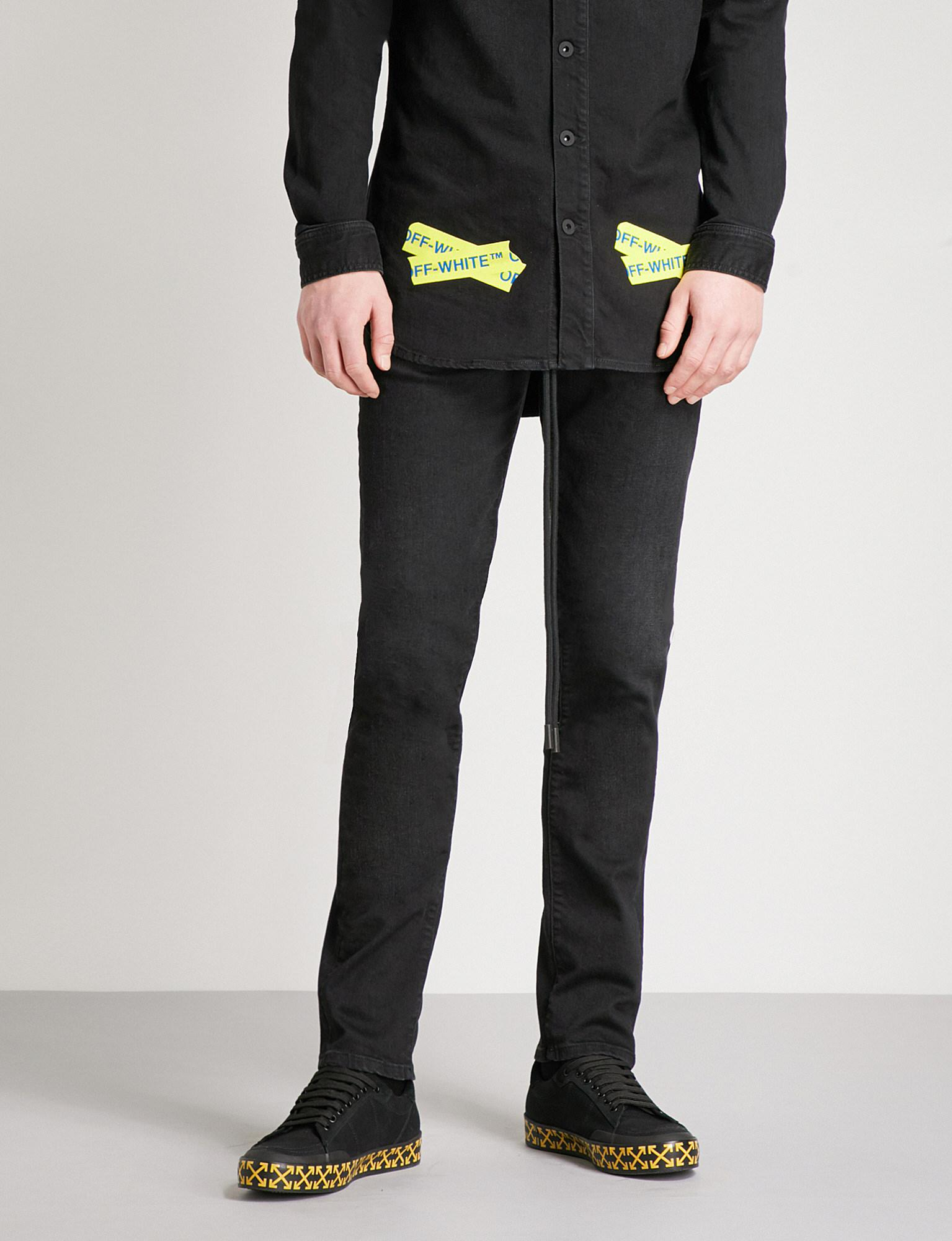 5f67758c4864 Lyst - Off-White c o Virgil Abloh Yellow Tape Slim-fit Tapered Jeans ...