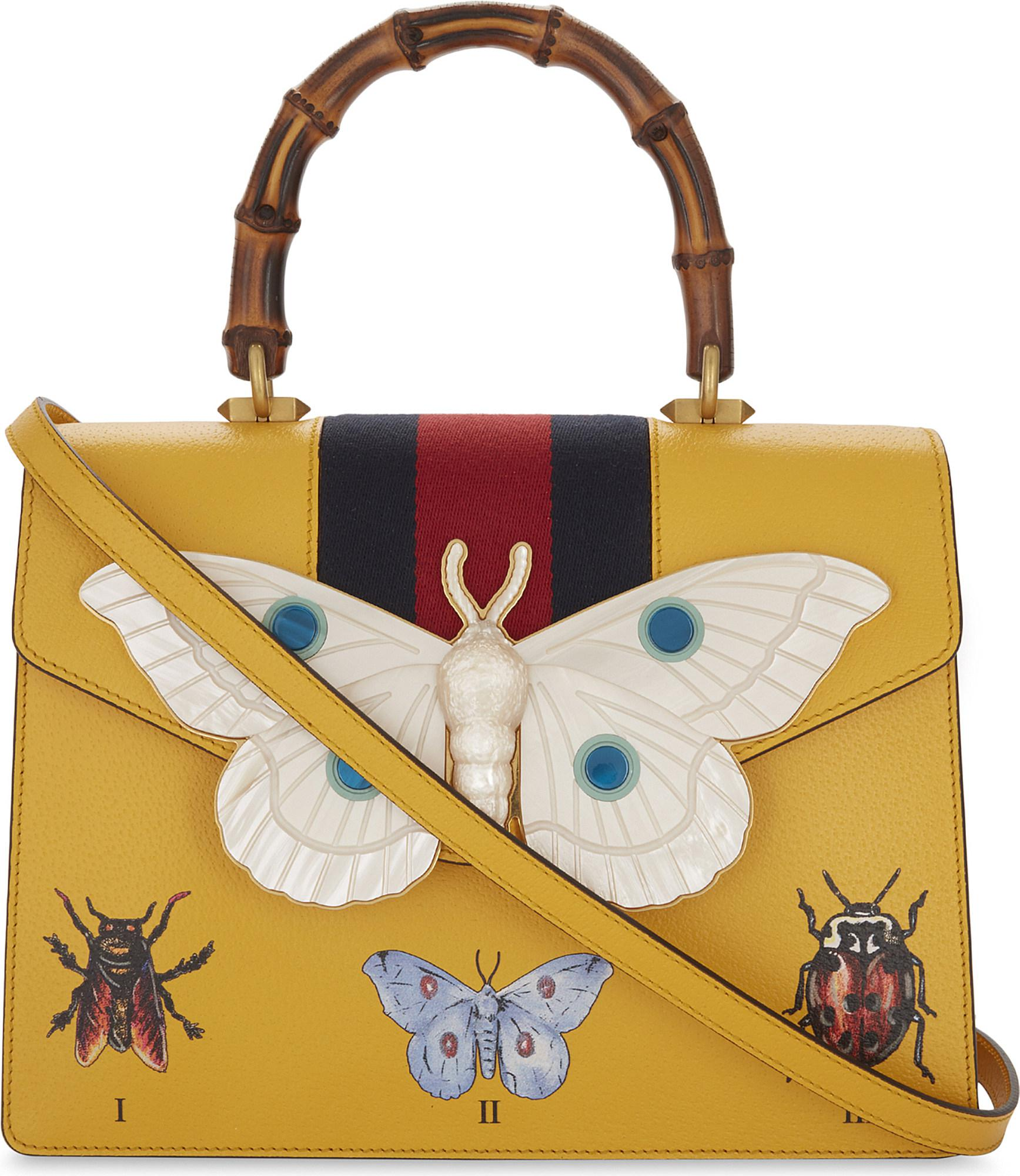 Moth Grained Leather Top Handle Bag