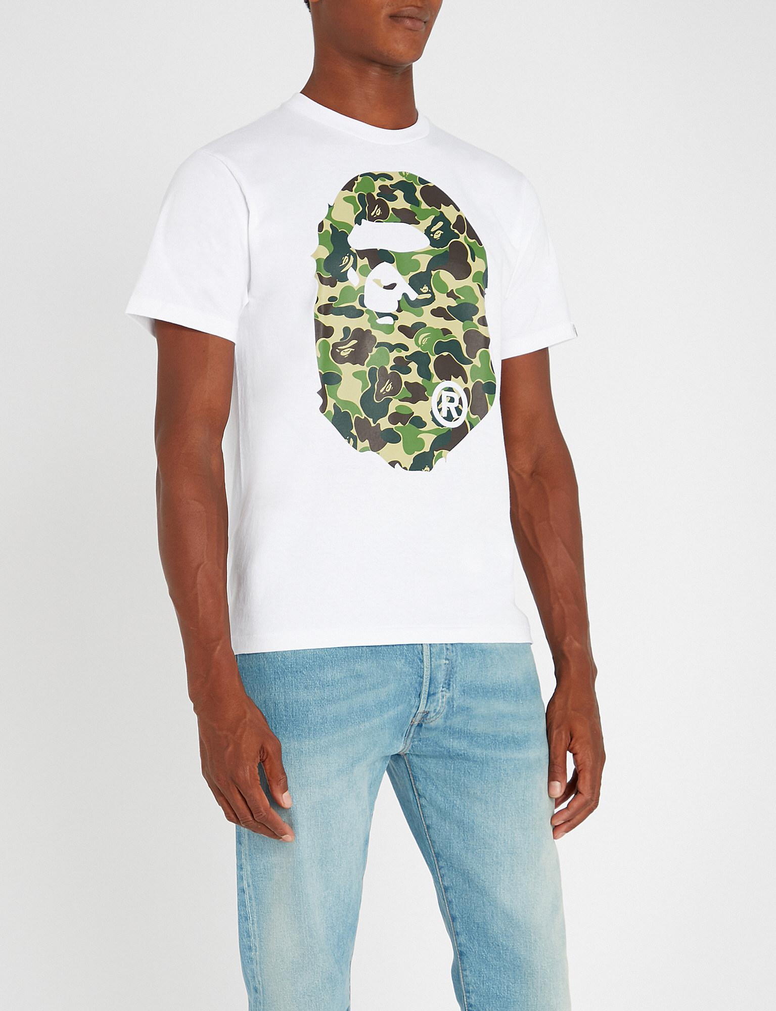 337dffcf A Bathing Ape Camouflage Logo-print Cotton-jersey T-shirt in White ...