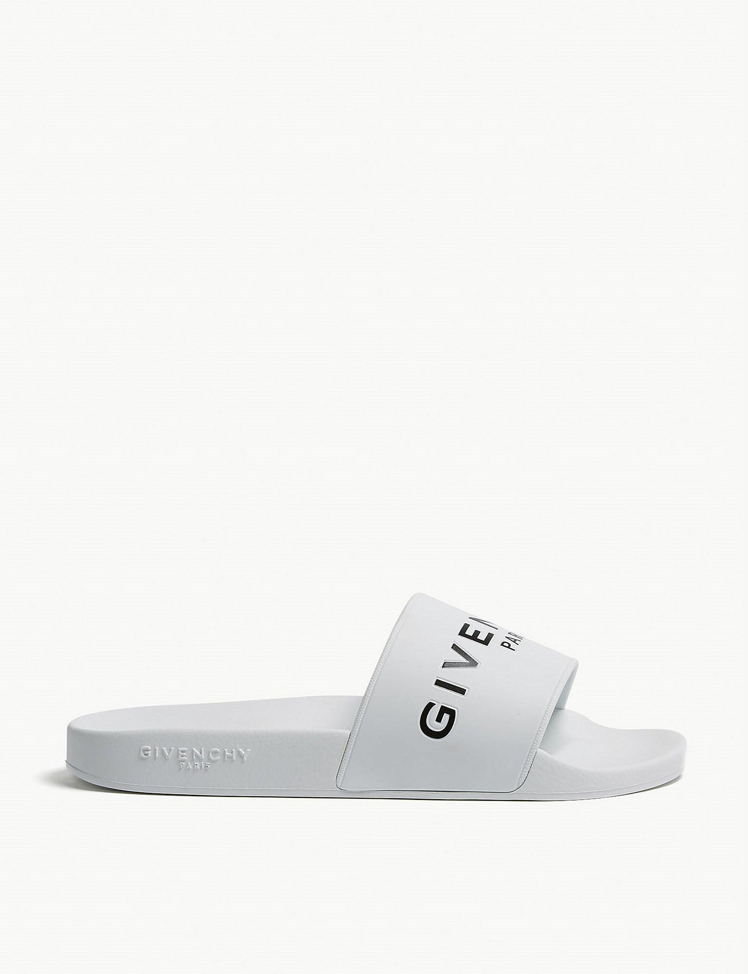 a39c65d558781 Lyst - Givenchy Logo Rubber Sliders in White