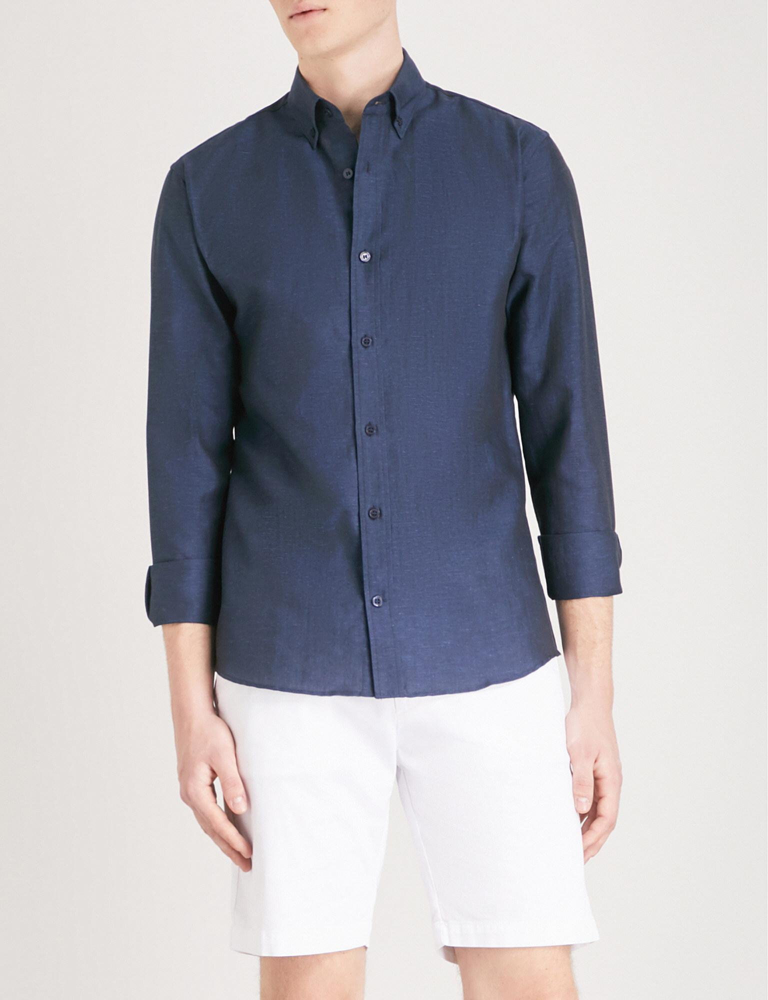 d1c60b27997a Tiger Of Sweden Donald Slim-fit Cotton And Linen-blend Shirt in Blue ...