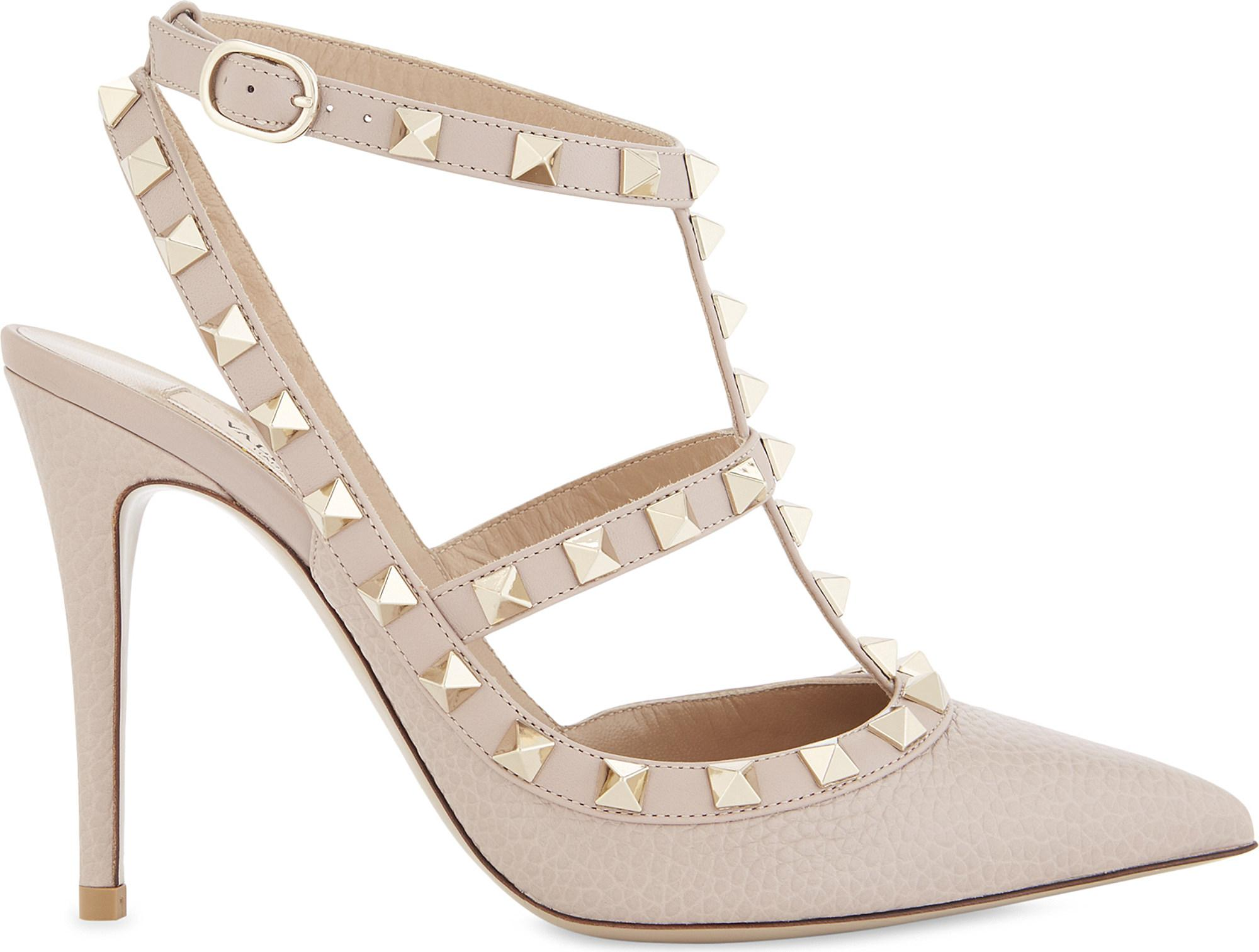 784adb96651 Lyst - Valentino Rockstud 100 Leather Courts in Metallic