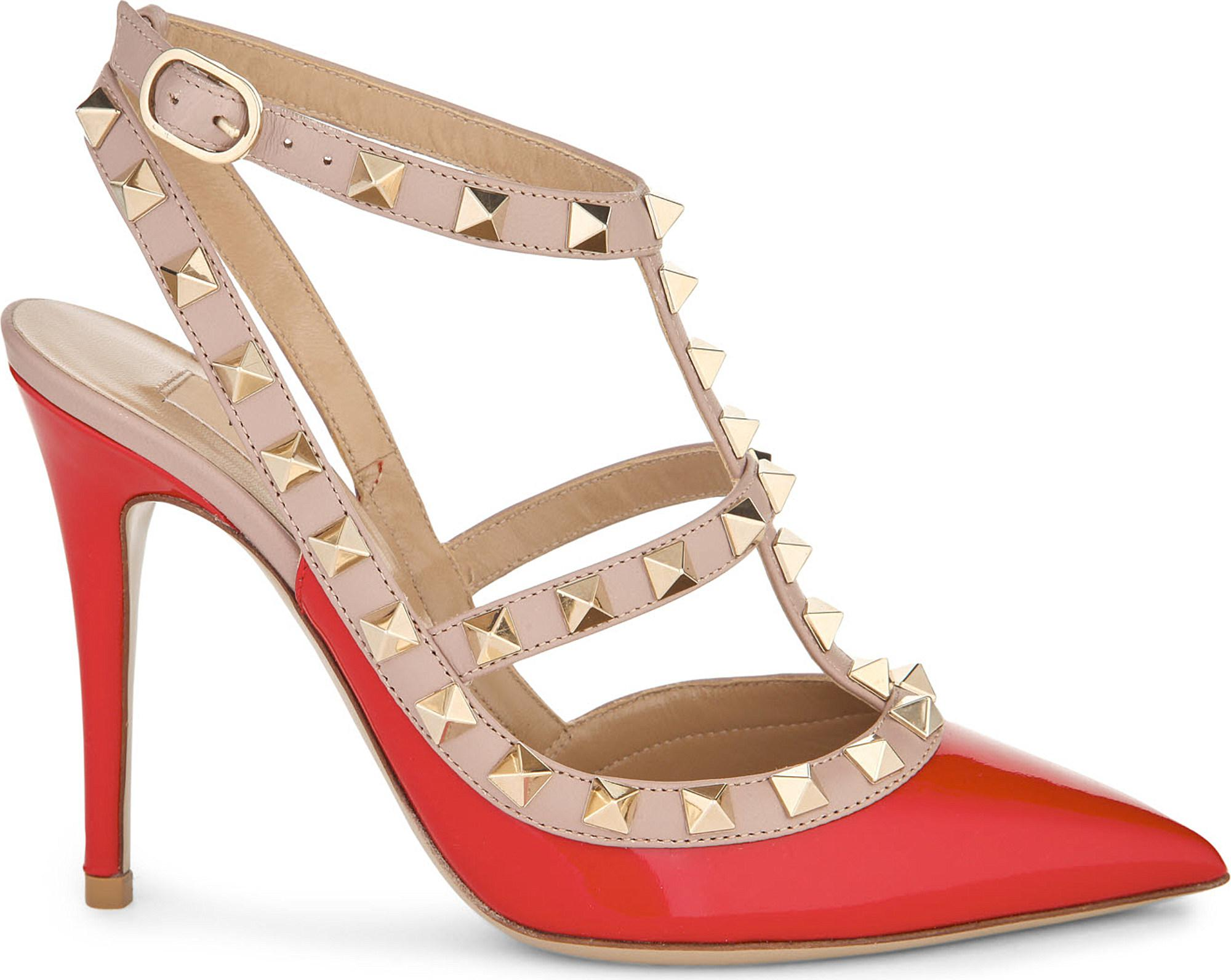 ac474f5f20e Lyst - Valentino Rockstud Leather Pumps in Natural - Save 50%