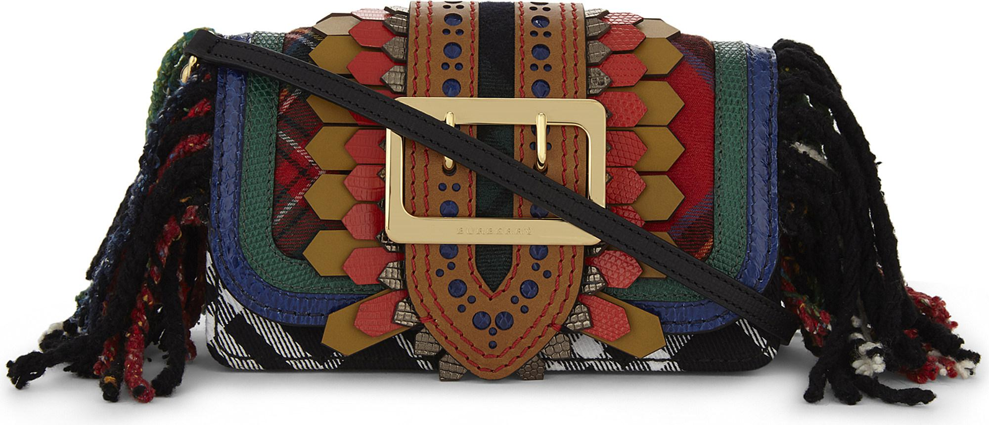 Lyst - Burberry Buckle Patchwork Leather Shoulder Bag fa0554100883e