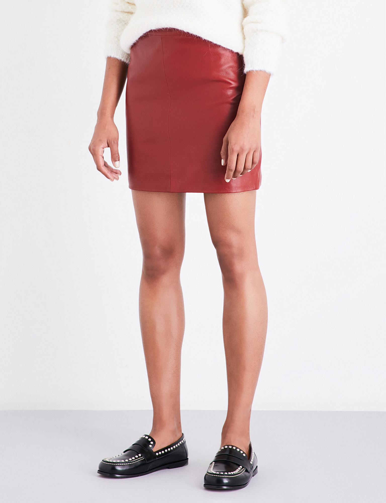 8ef8142f5 Sandro Mid-rise Leather Skirt in Red - Lyst