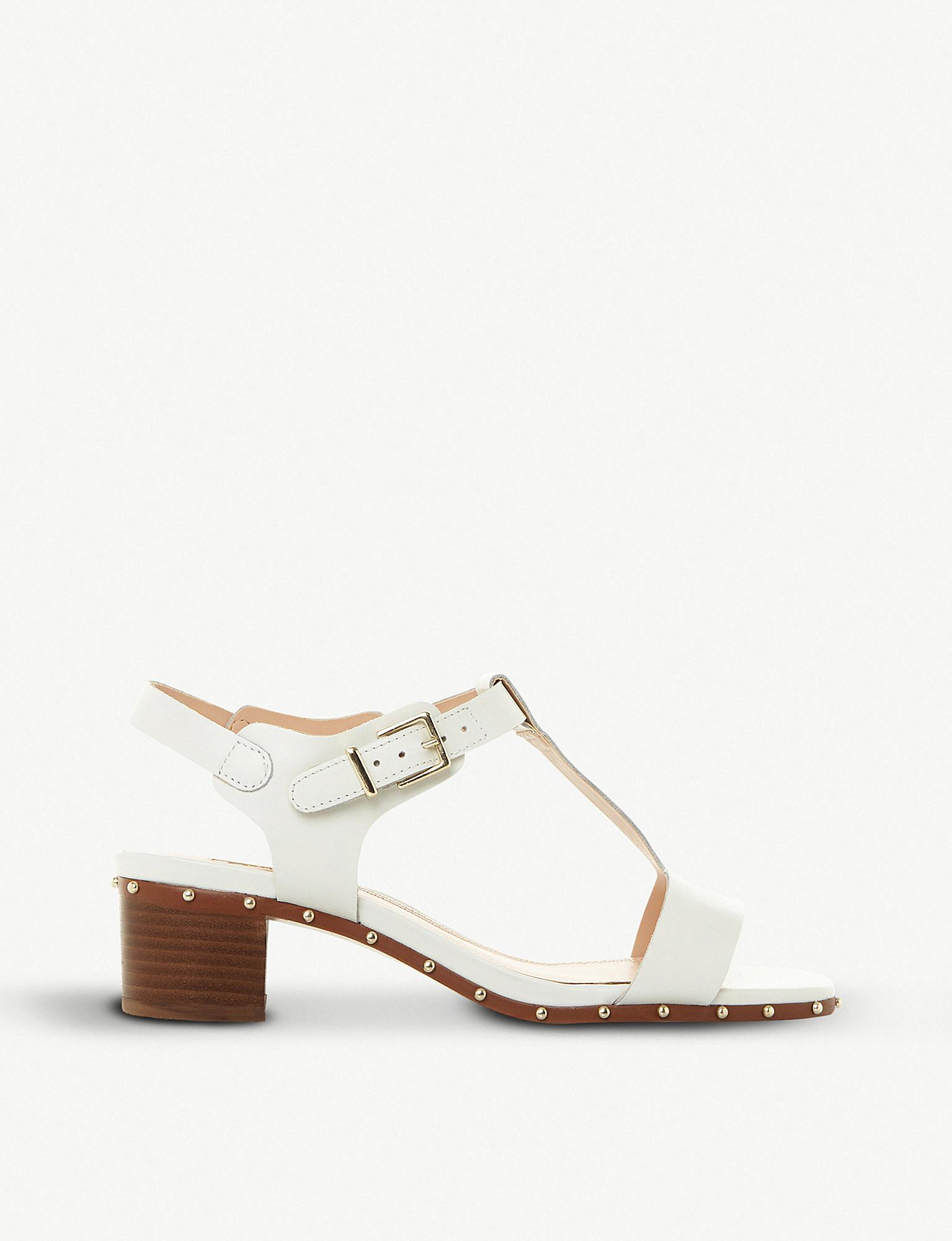 0f591f461ce4 Dune Isadora Studded Leather T-bar Sandals in White - Lyst