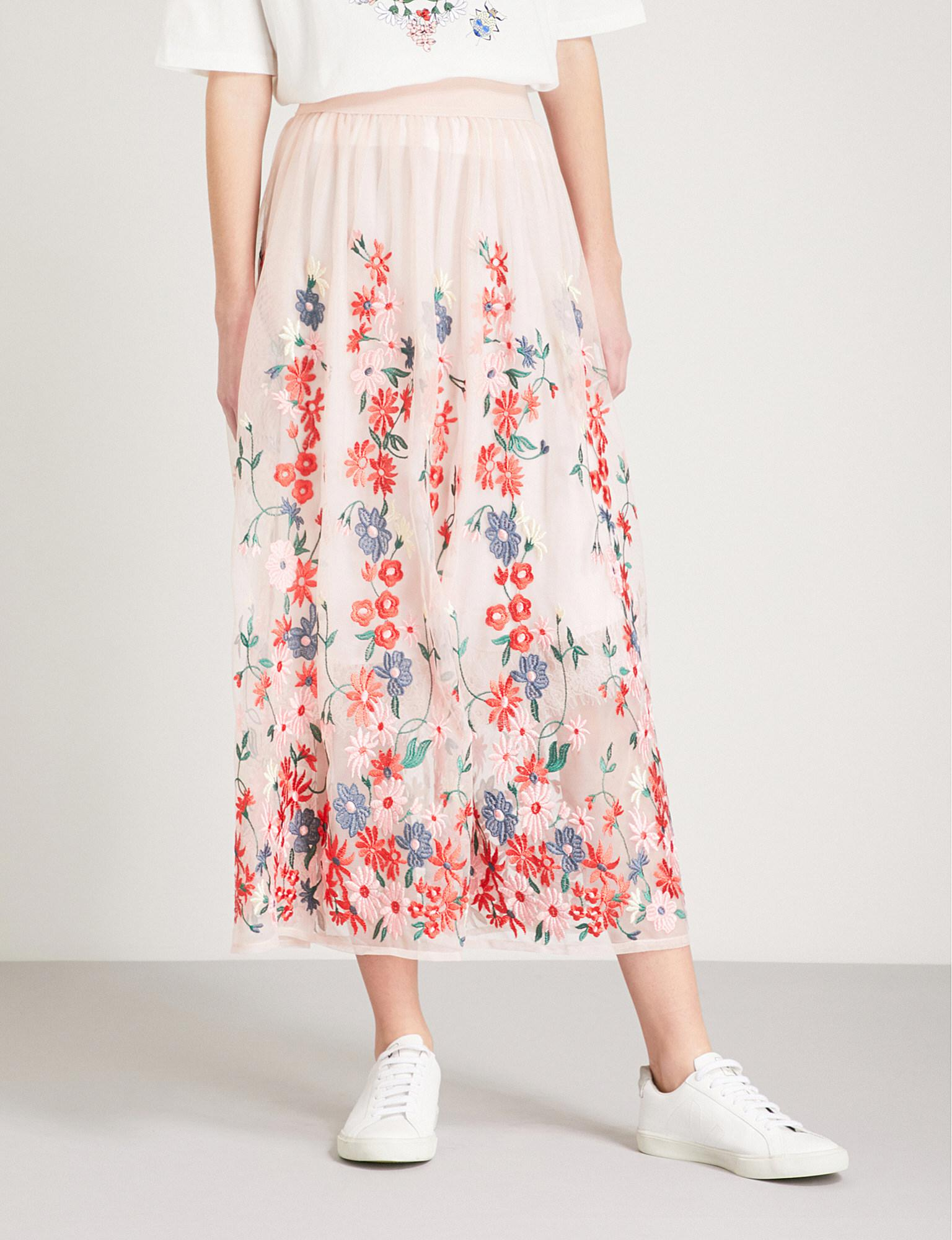 d688596197 Maje Jamie Floral-embroidered Tulle Midi Skirt in Pink - Lyst