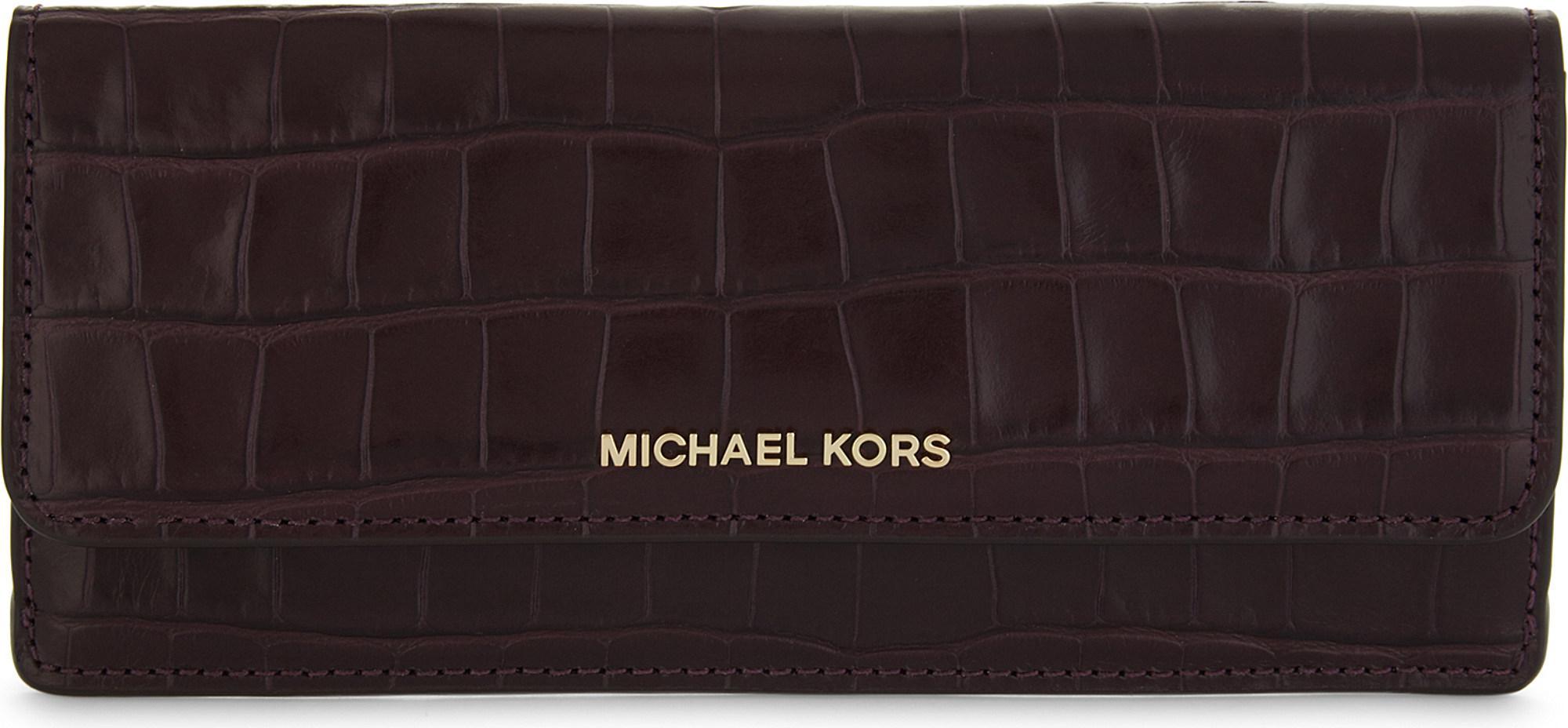 b950967fccf3 Lyst - MICHAEL Michael Kors Money Pieces Crocodile-embossed Leather ...