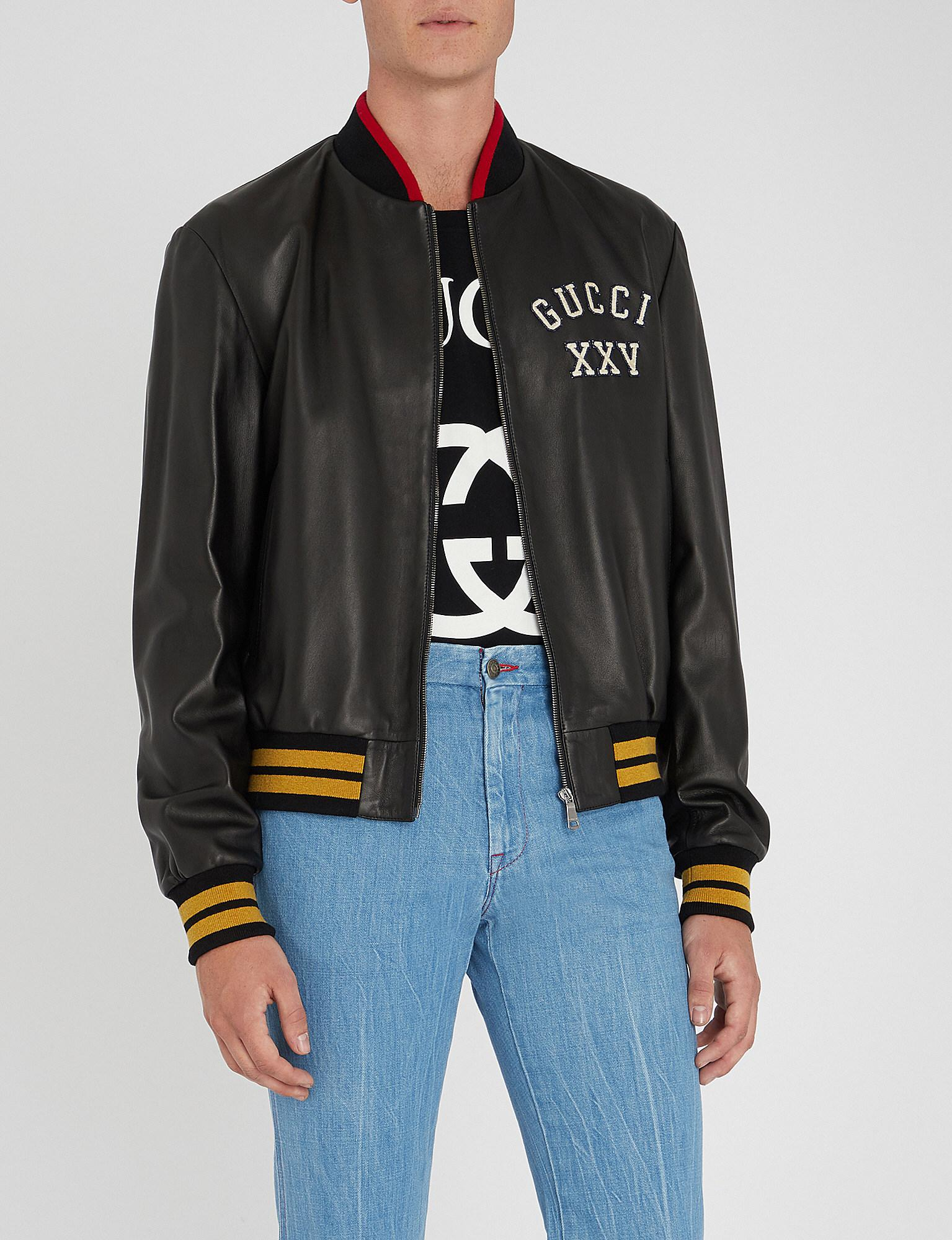 08ea1ea824a84 Gucci Pirates Leather Bomber Jacket in Black for Men - Lyst