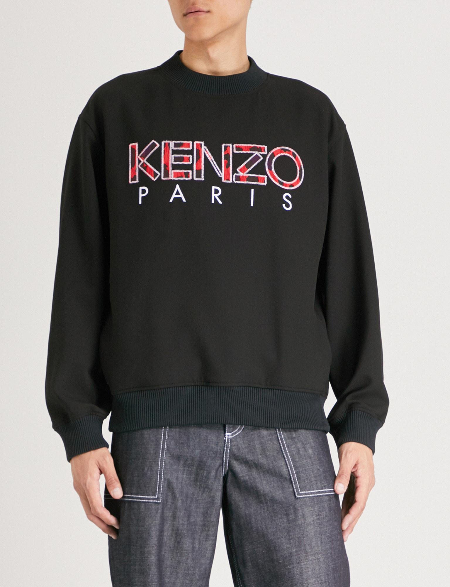 5701241b Lyst - Kenzo Logo-embroidered Cotton-jersey Sweatshirt in Black for Men