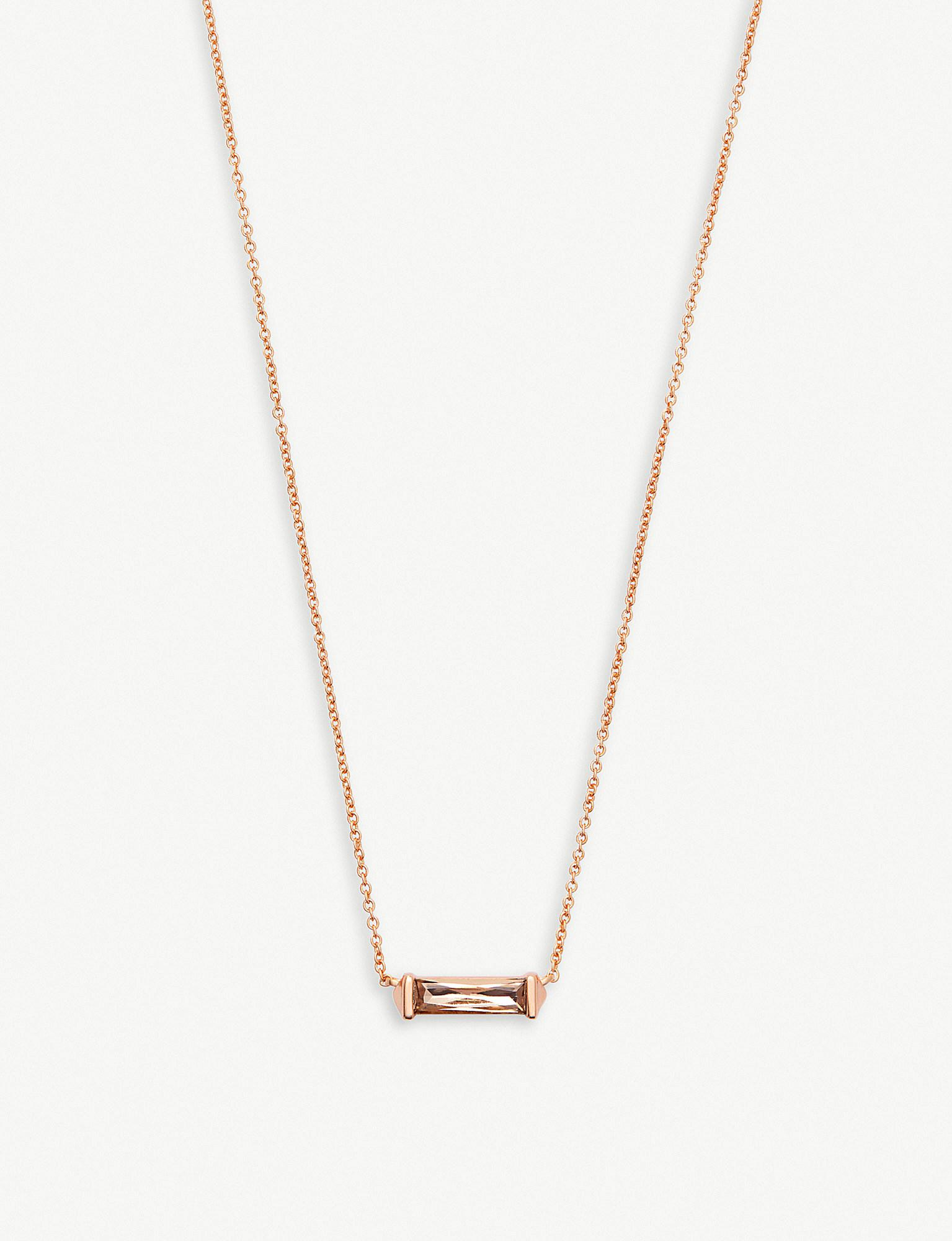 cab73df15 Lyst - Kendra Scott Rufus 14ct Rose Gold-plated And Crystal Bar ...