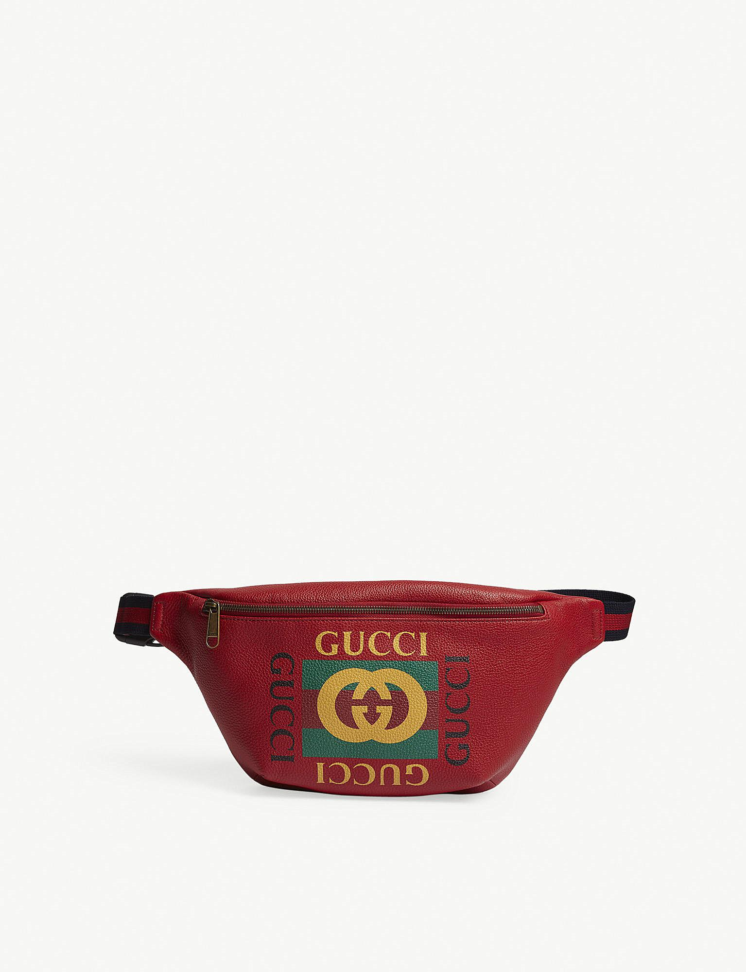 23c5c1f0183 Lyst - Gucci Logo Grained Leather Bumbag in Red