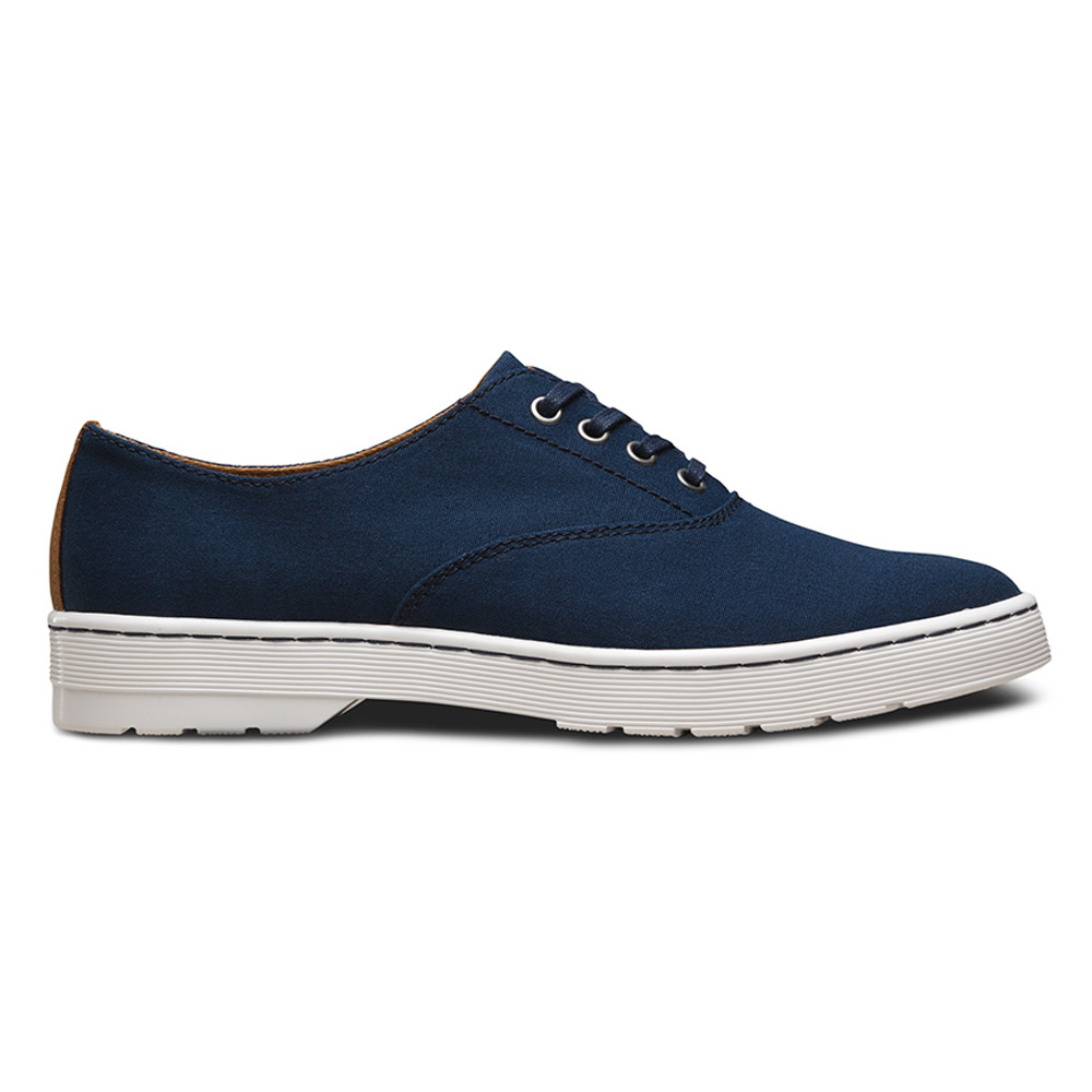 dr martens lakewood 4 eye canvas oxford shoe in blue for