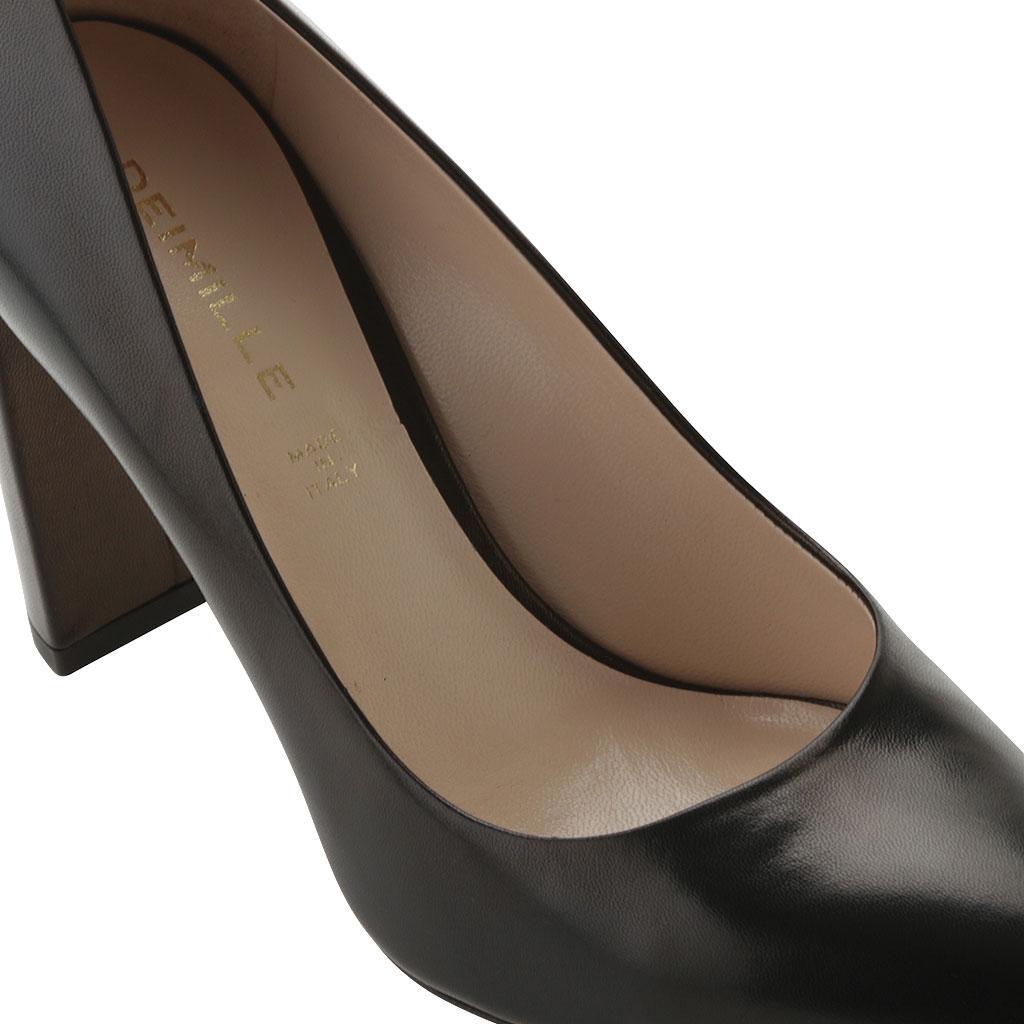 e2107c6a22d Lyst - Deimille Madison Leather Block Heel Pump in Black