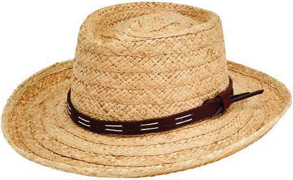 b1bafd127dc San Diego Hat Company. Men s Natural Raffia Gambler Fedora W  Faux Leather  Band Rhm6100
