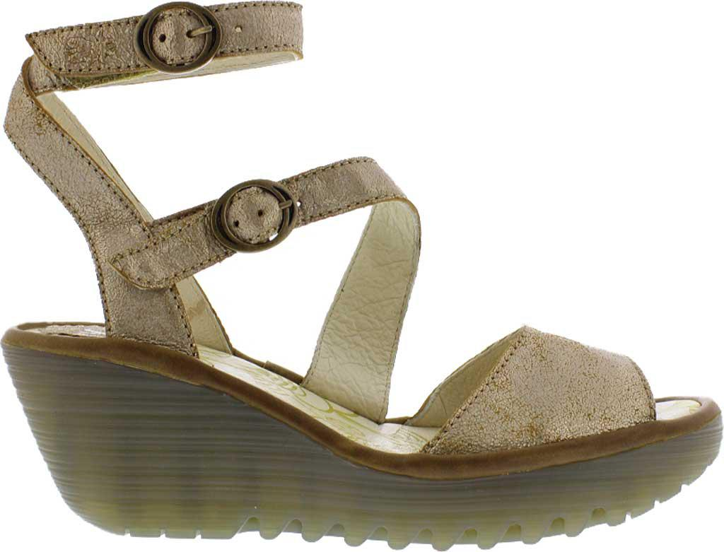 f605f781852 Lyst - Fly London Yisk837fly Ankle Strap Wedge Sandal in Metallic