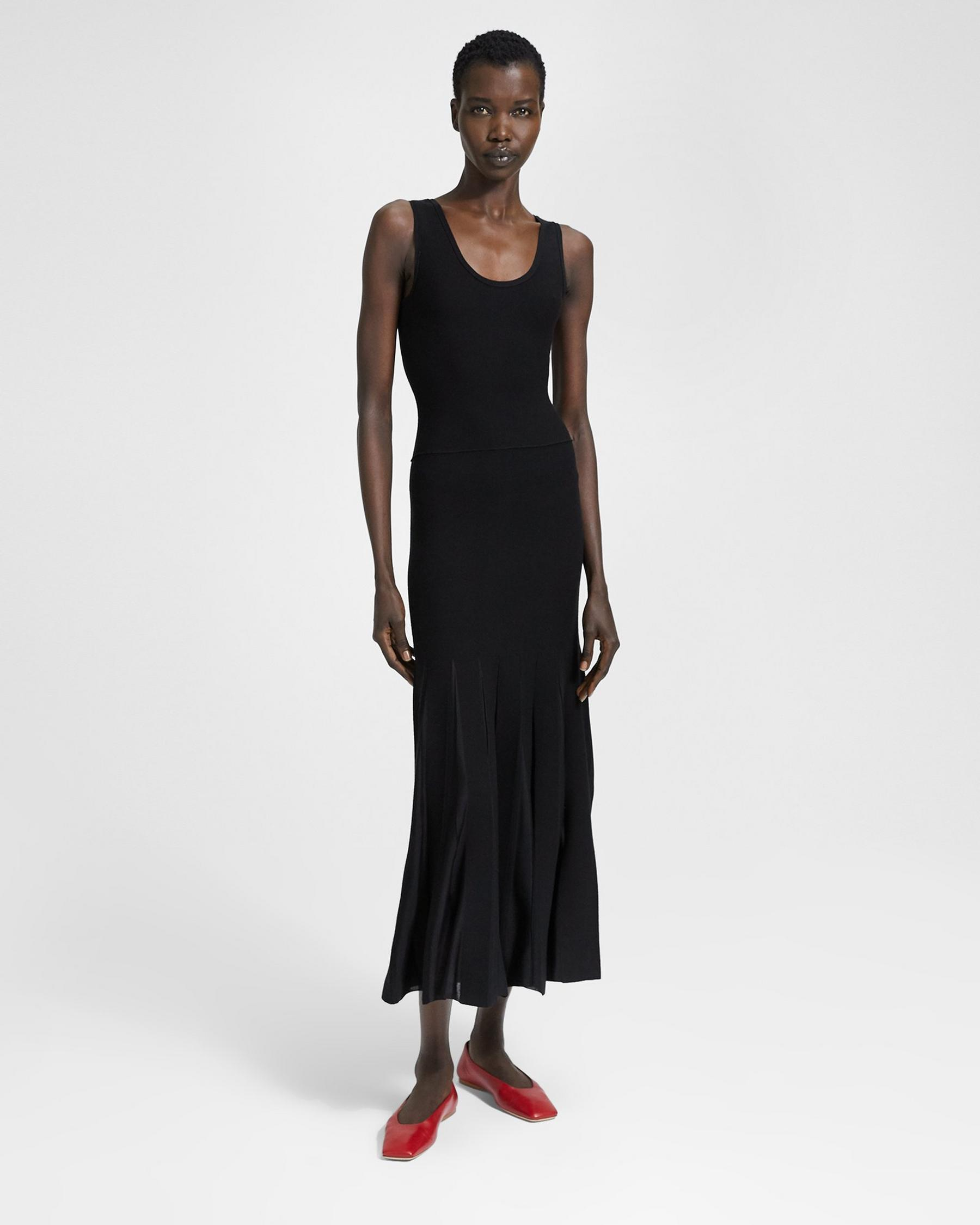 e08cfb932a Lyst - Theory Pleated Tank Dress Black in Black - Save 60%