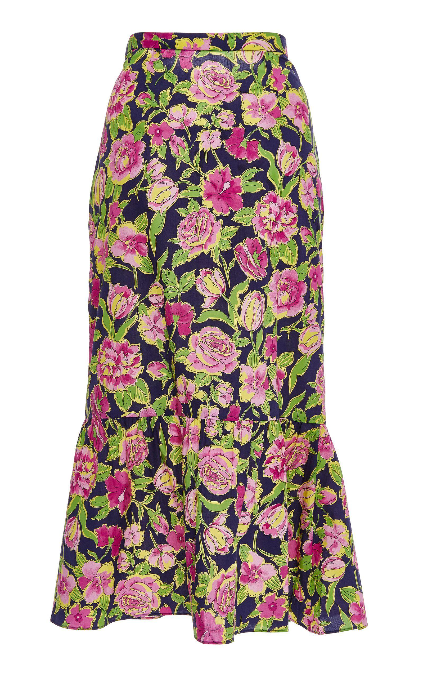 206301fd2 MDS Stripes Pencil Skirt With Ruffle Floral - Lyst