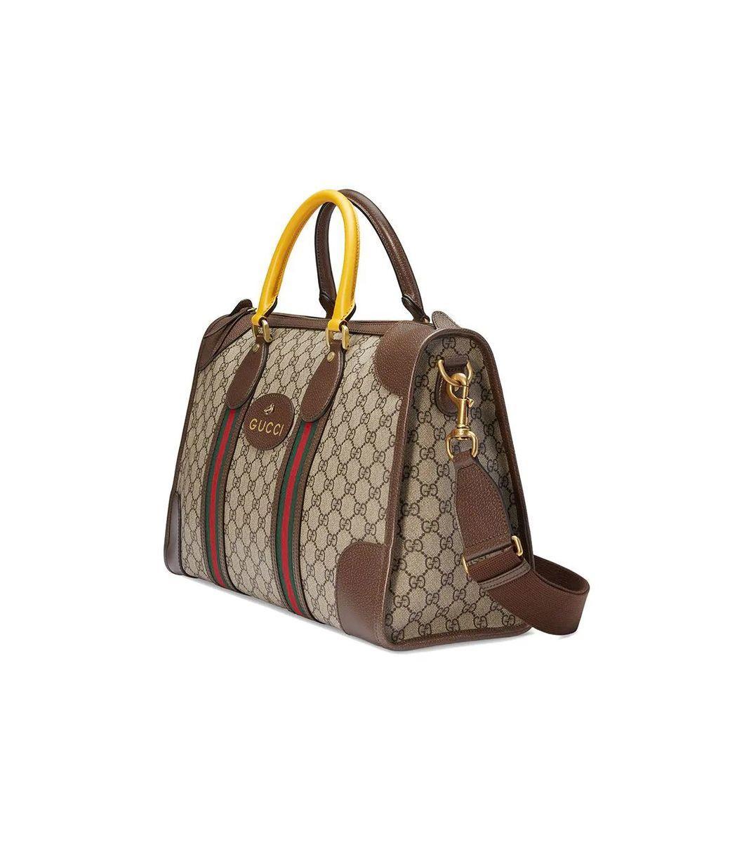 911a001d44c3 Gucci - Natural Soft GG Supreme Duffle Bag With Web - Lyst. View fullscreen
