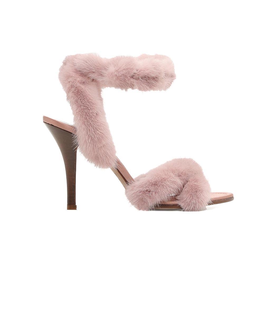 32747ec4800e Lyst - Valentino Light Pink Mink Fur Sandals in Pink