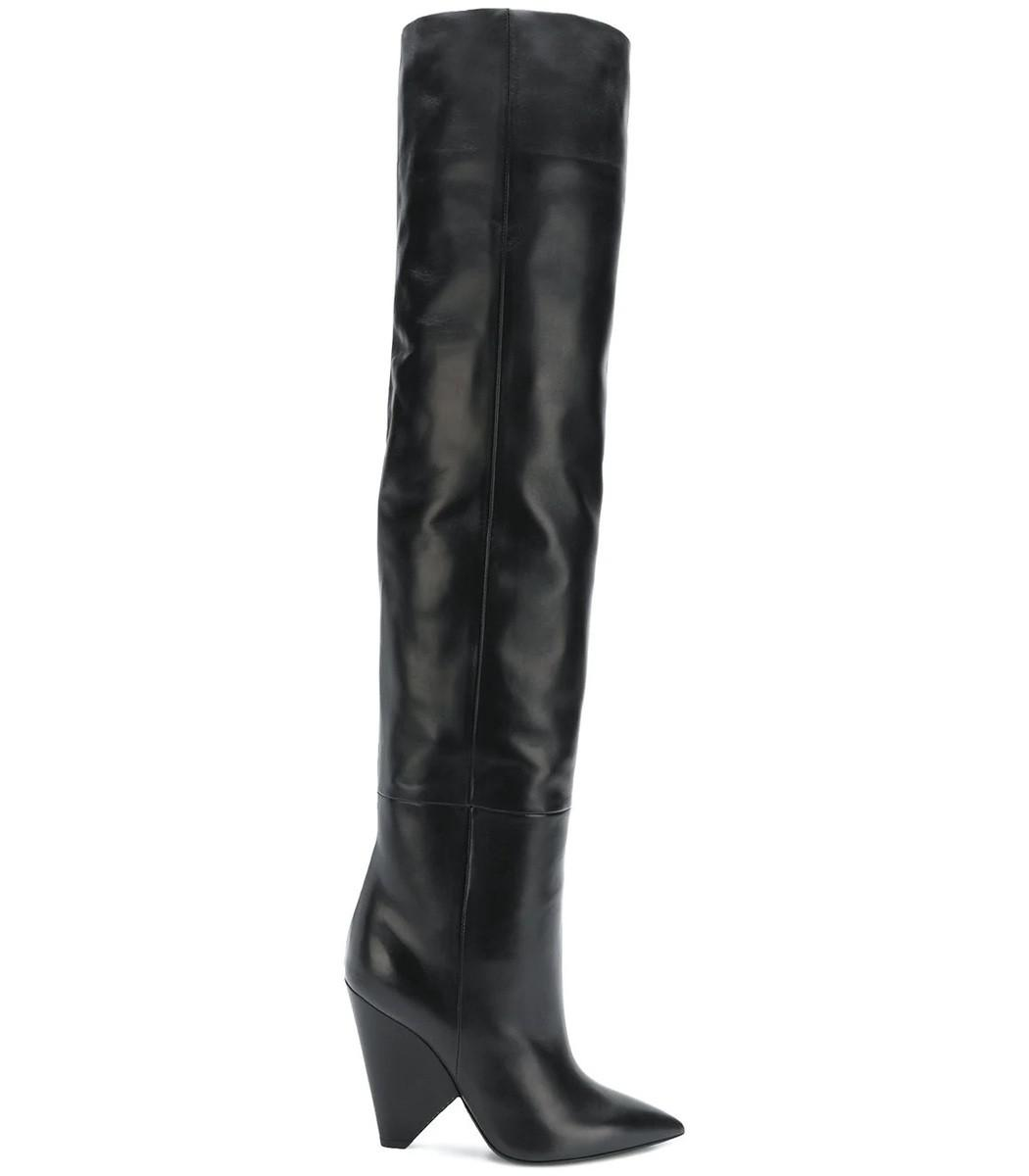 59716cfe477 Lyst - Saint Laurent Niki Wedge Boots in Black - Save 71%