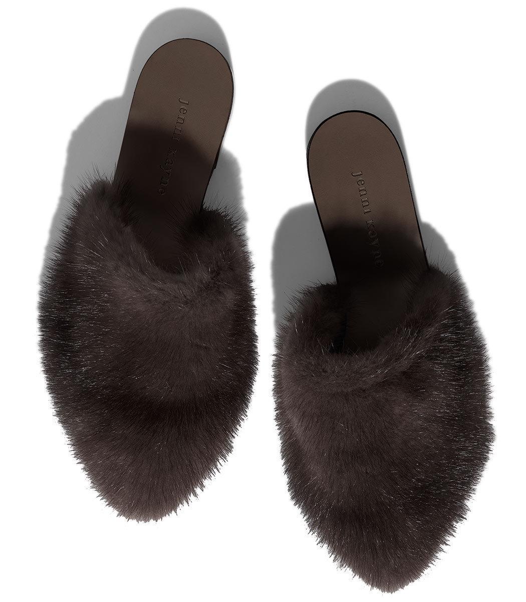 97433196238 Lyst - Jenni Kayne Dark Brown Mink Mule Slide in Brown