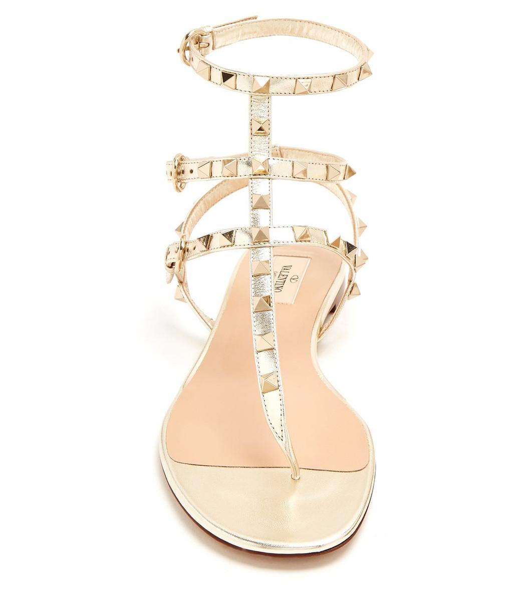 10e7381fe54e Valentino - Metallic Rockstud Ankle-wrap Thong Sandal - Lyst. View  fullscreen