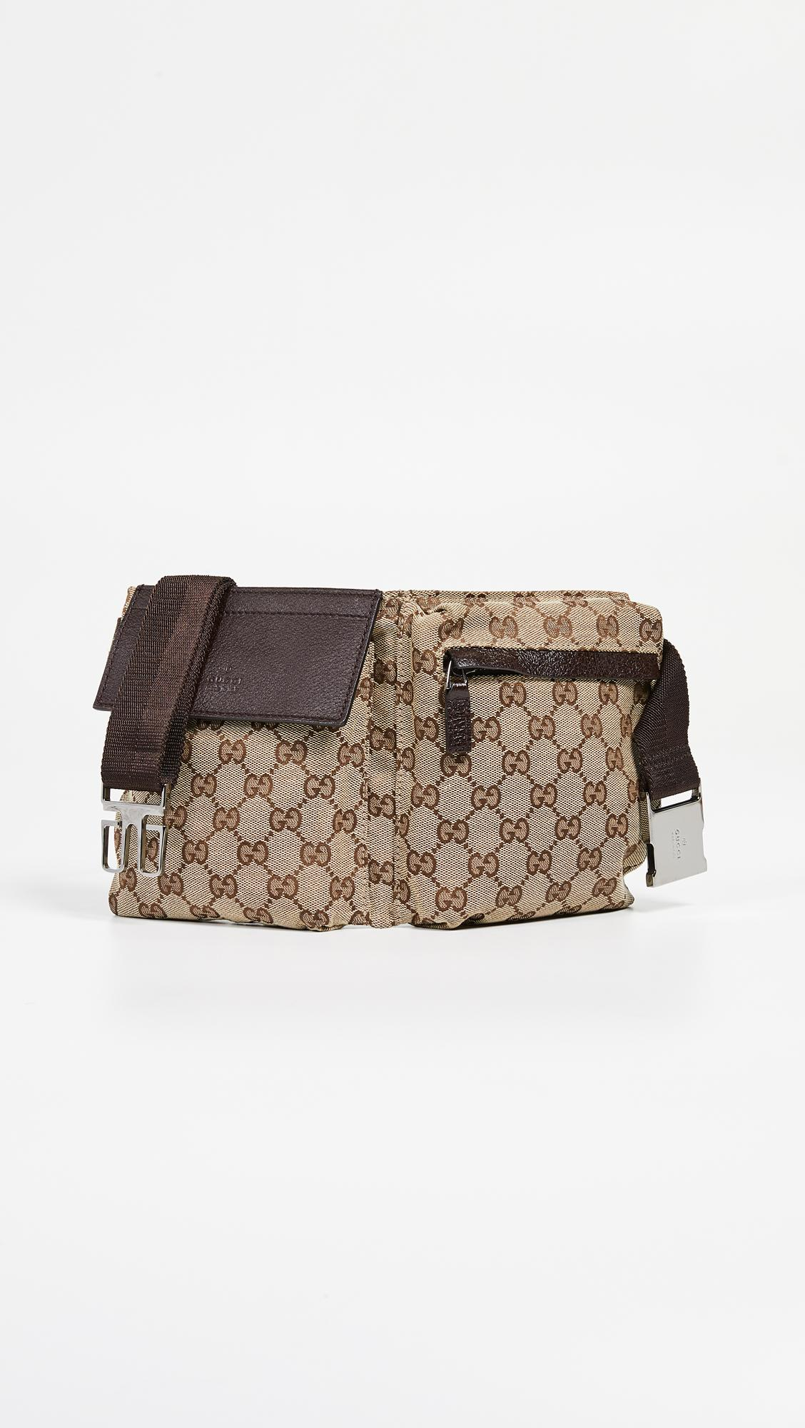 f334812a3e5d What Goes Around Comes Around. Women's Gucci Brown Coated Canvas Waist Pouch