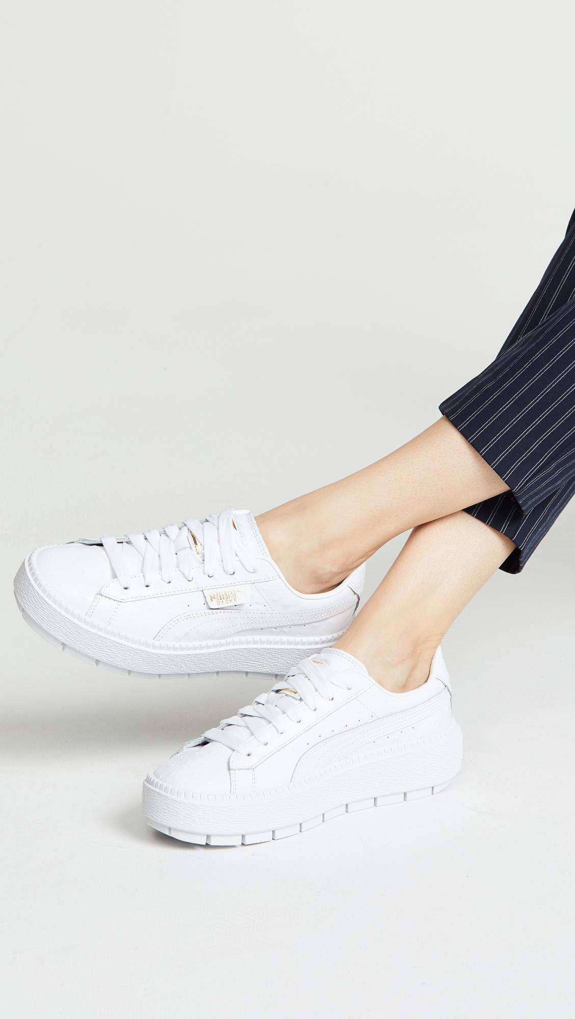 7a4be9a81332ca PUMA Platform Trace Ostrich Sneaker in White - Lyst