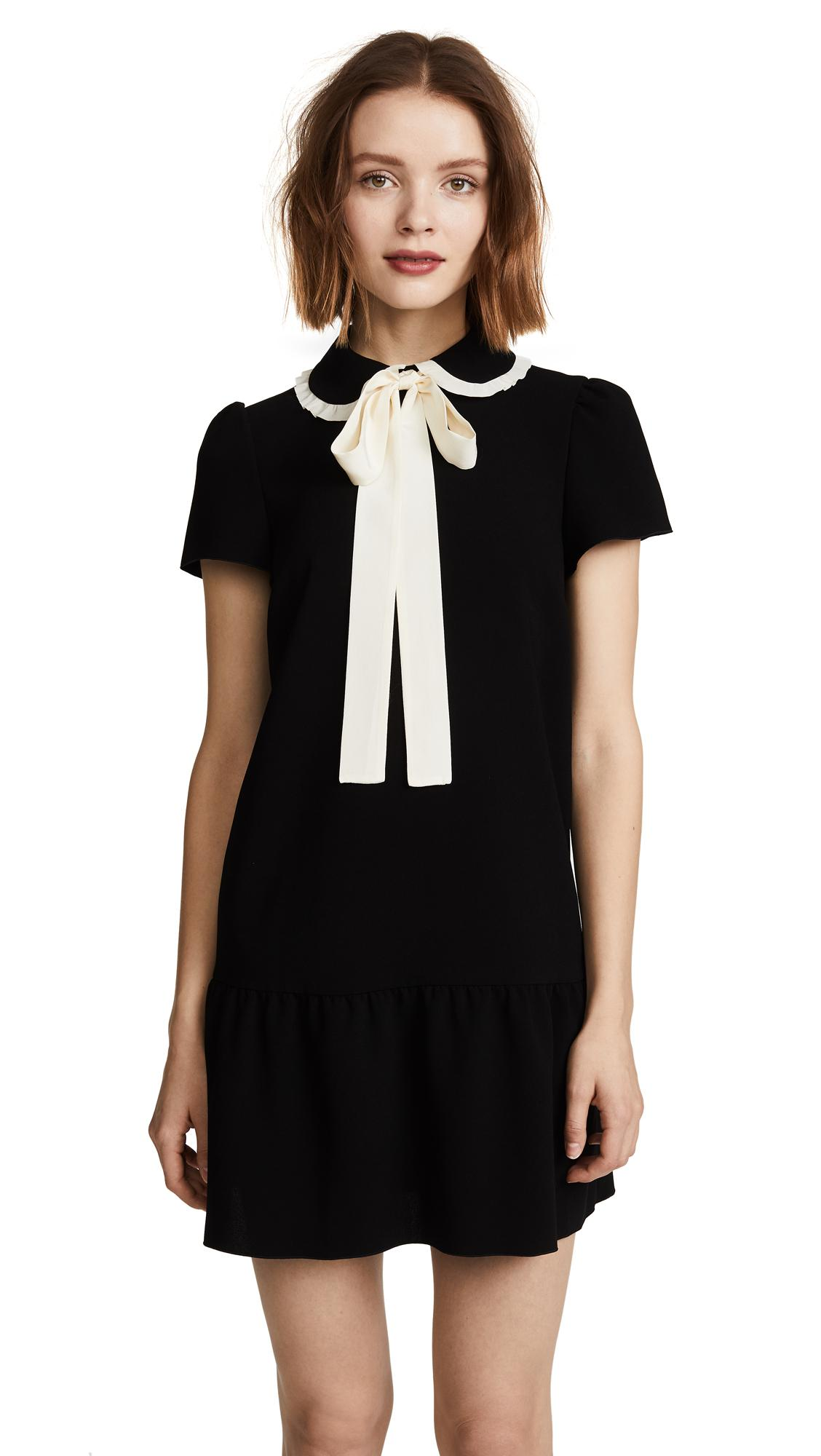 Black Collared Tie Back Tropical Print Bodycon Dress From: Red Valentino Collared Tie Neck Dress In Black